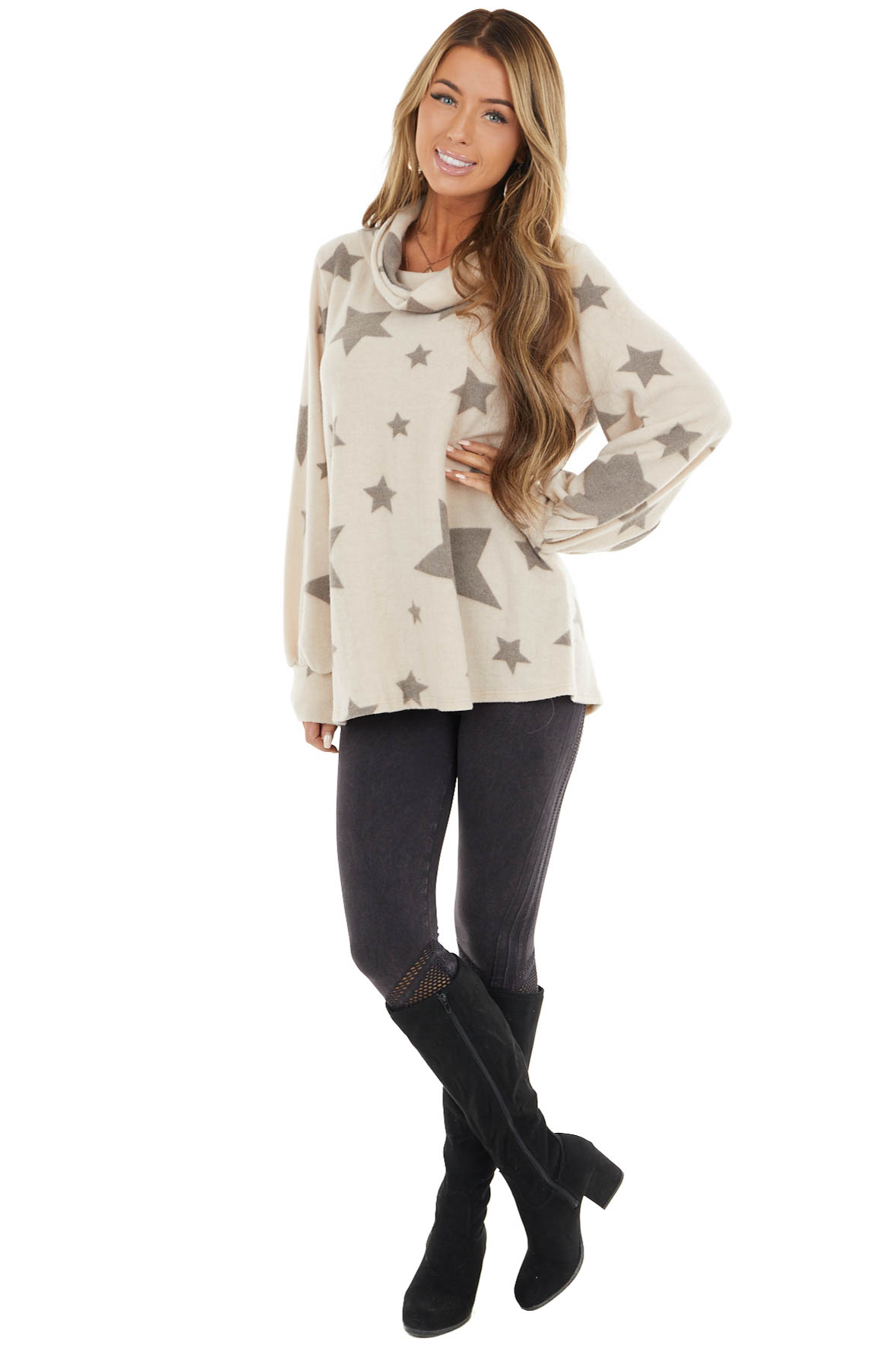 Latte Star Print Long Sleeve Flannel Top with Cowl Neckline