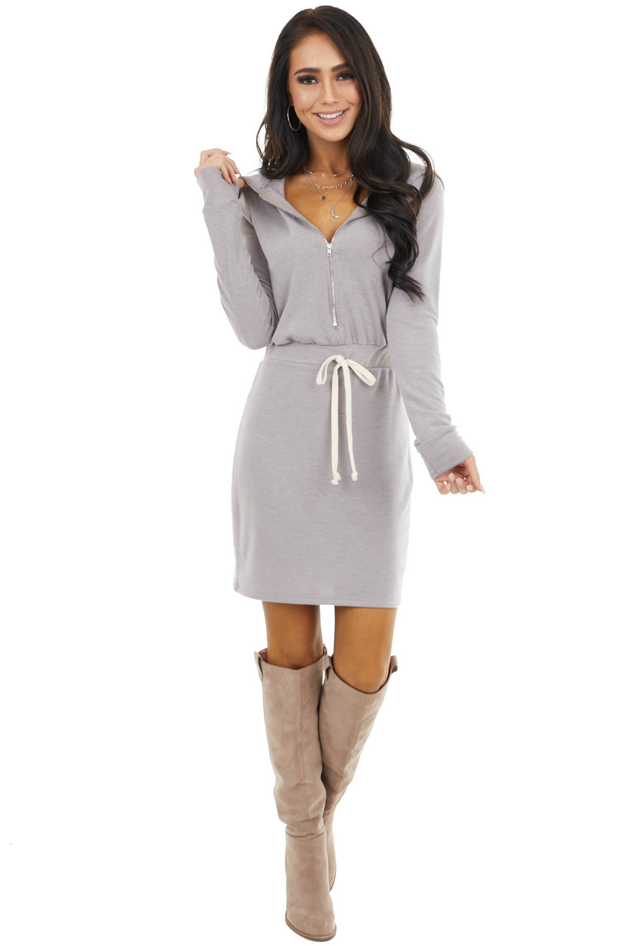 Dusty Mauve Sweater Dress with Zipper and Hood Details