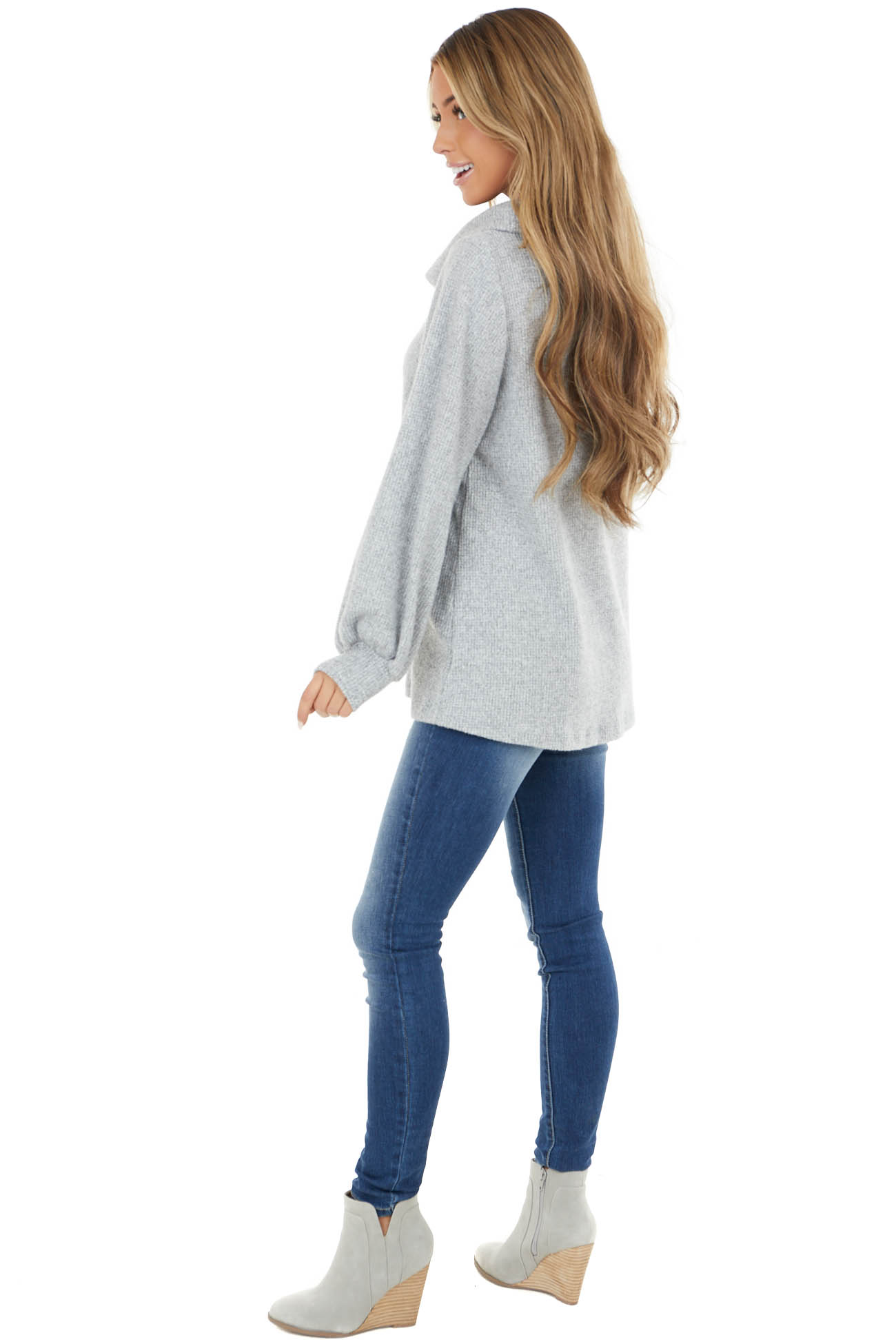 Heather Grey Long Sleeve Thermal Knit Top with Cowl Neck