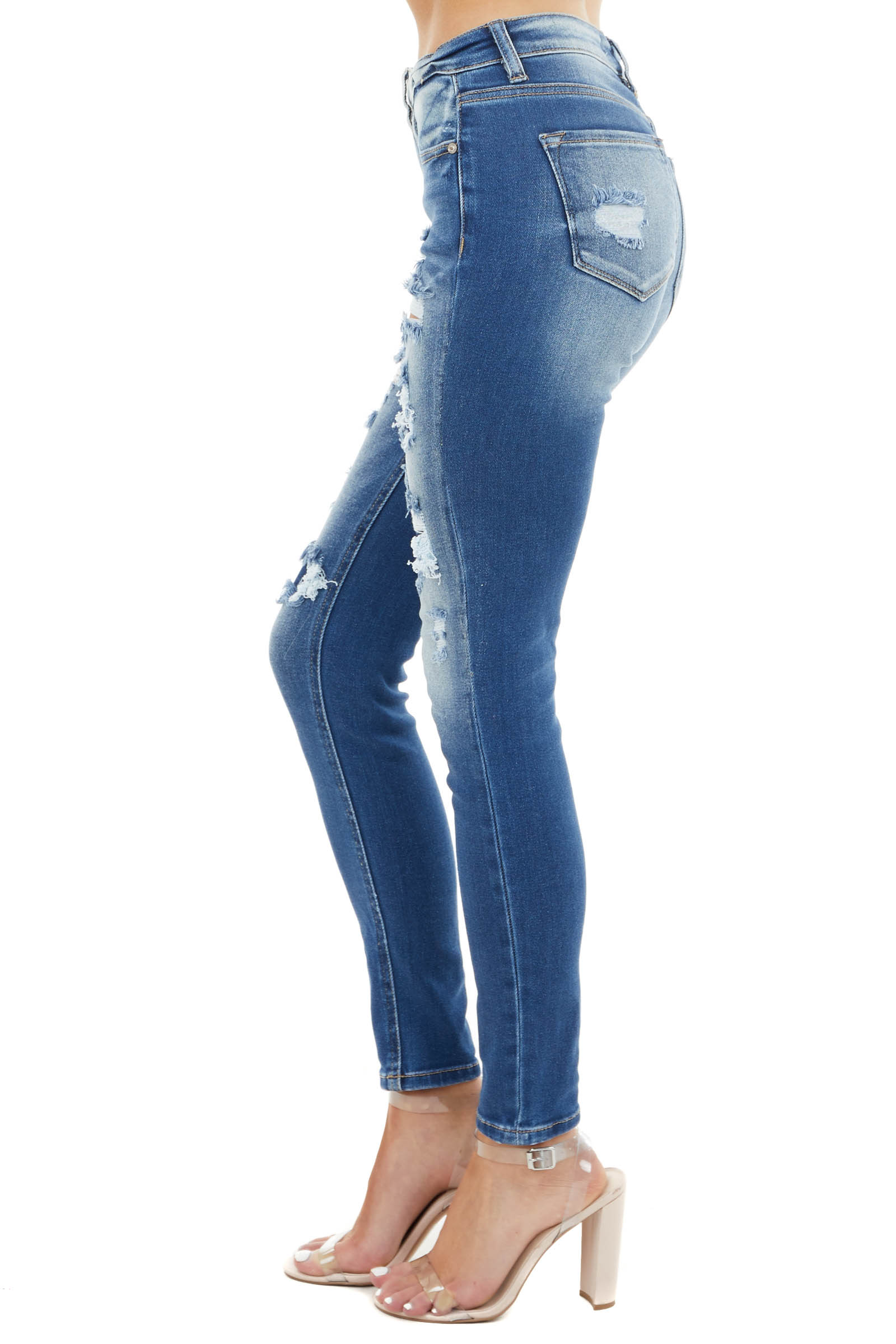 Medium Wash Distressed Mid Rise Skinny Jeans with Patches