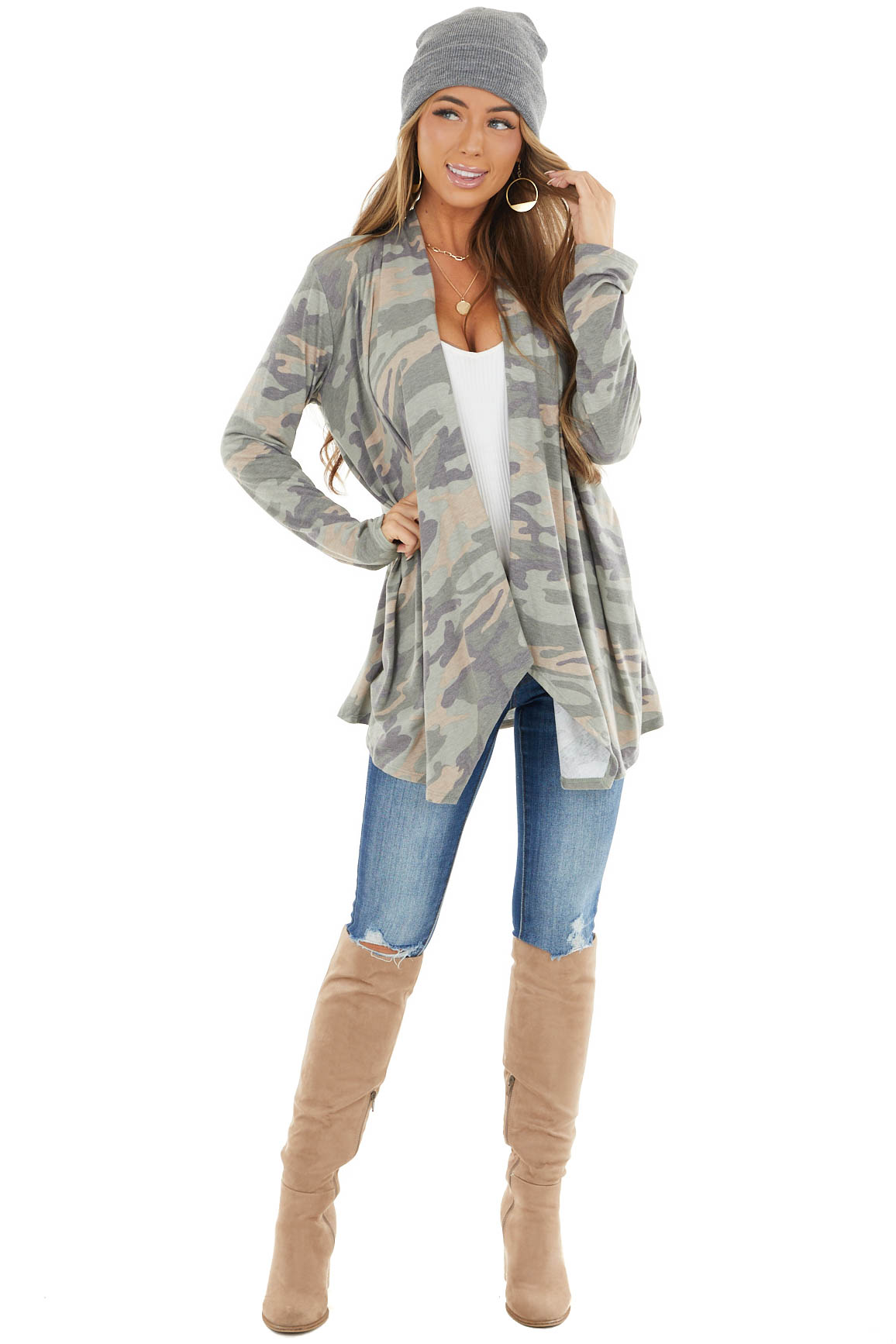 Sage and Desert Sand Open Front Stretchy Knit Cardigan