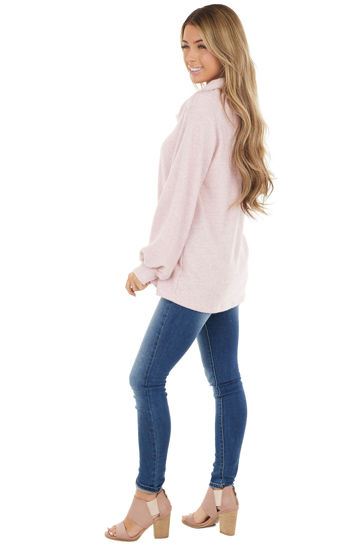 Heathered Blush Long Sleeve Thermal Knit Top with Cowl Neck