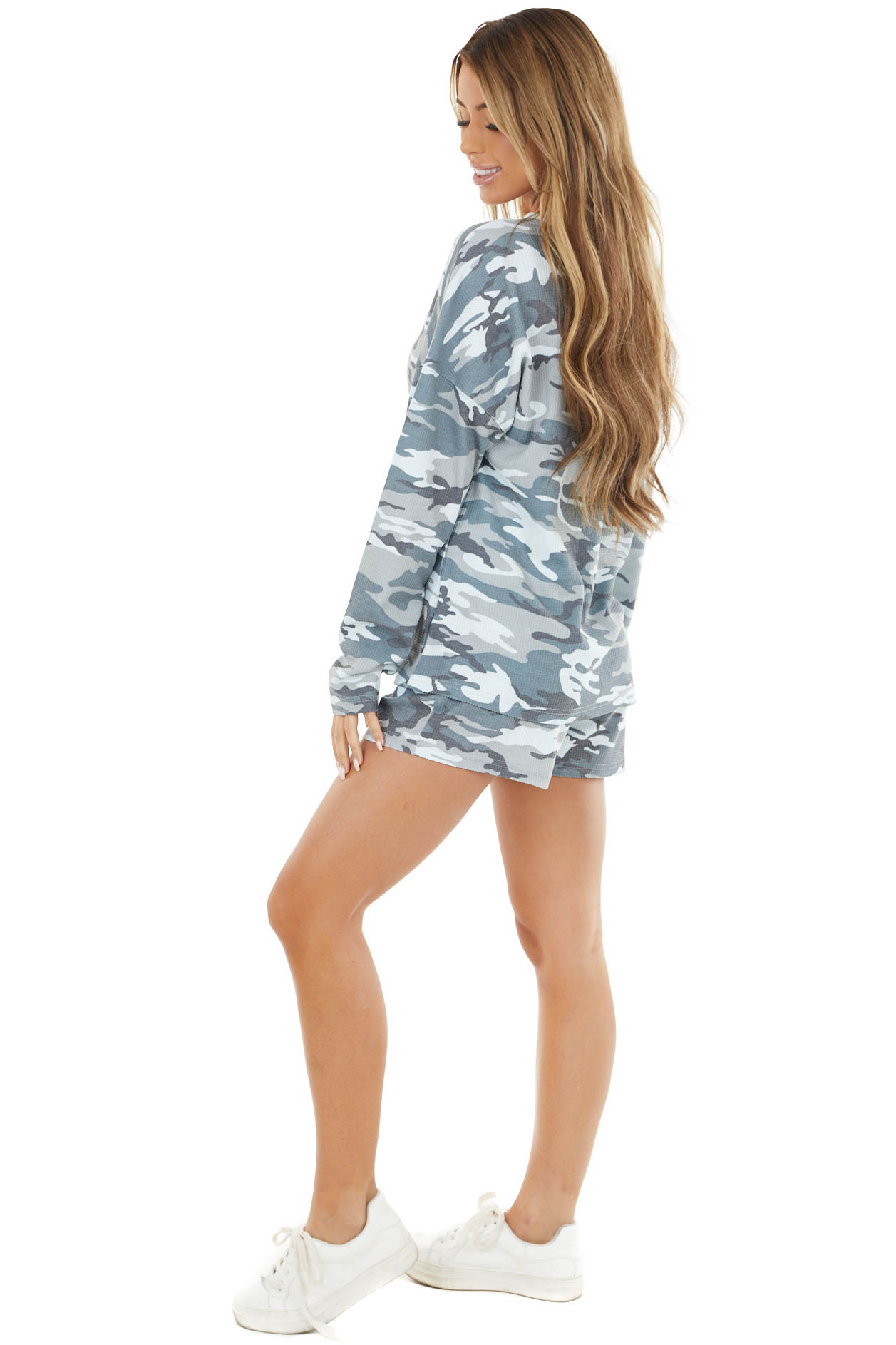 Hunter Green and Ivory Waffle Knit Camo Top and Shorts Set