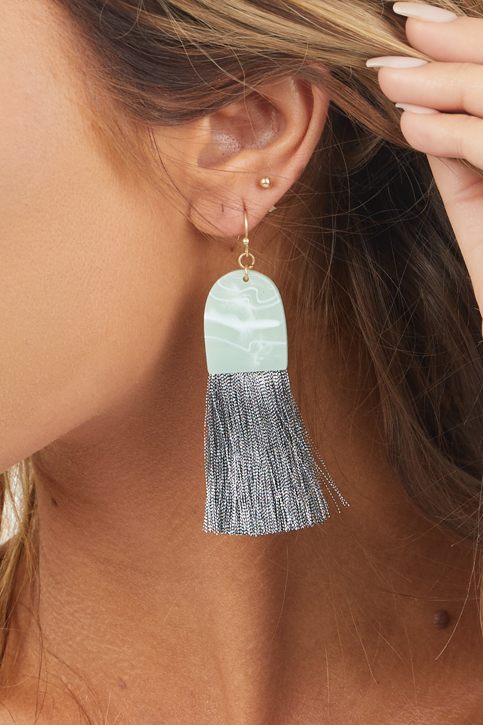 Sage Green Acrylic Dangle Earrings with Silver Tassel Detail