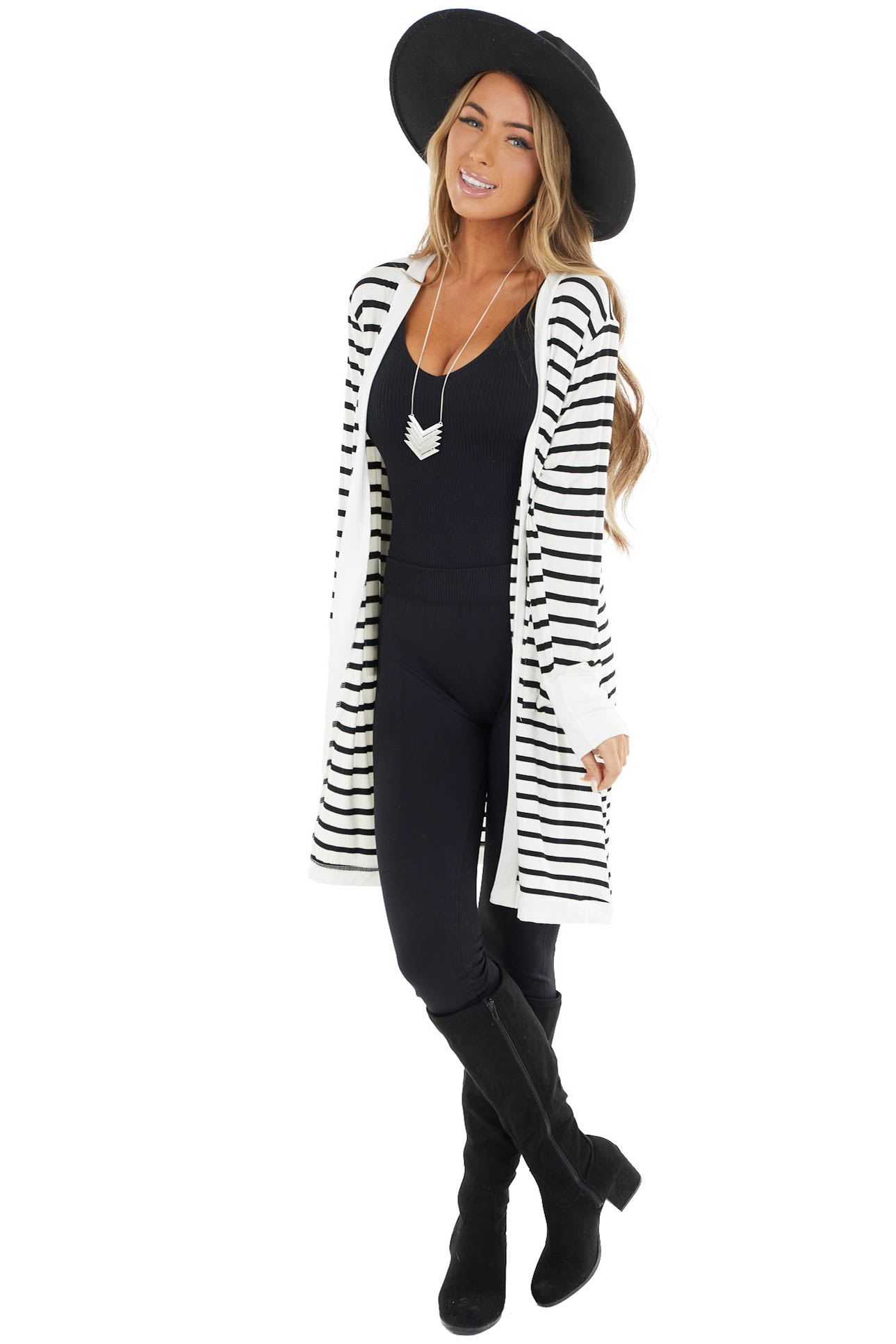 Black and Ivory Striped Open Front Cardigan with Pockets