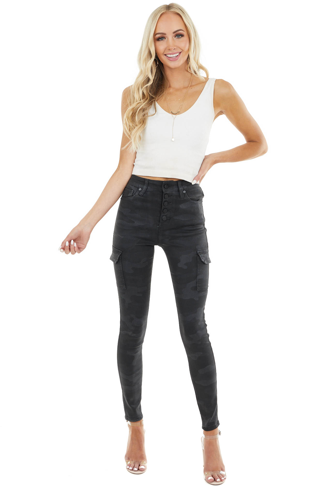 Black Coated Cargo High Rise Skinny Jeans with Camo Print
