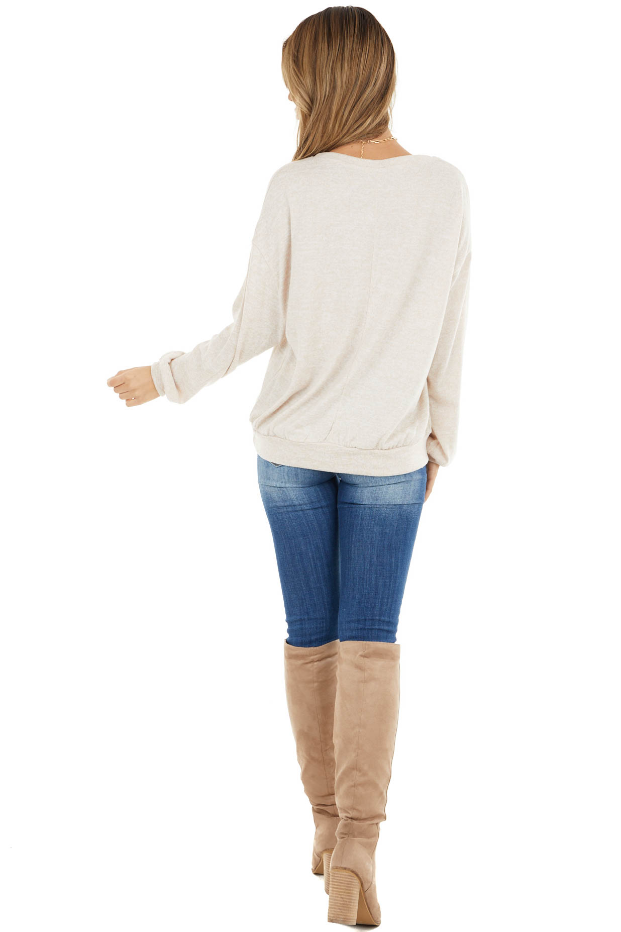Sand V Stitch Stretchy Knit Top with Bubble Sleeves