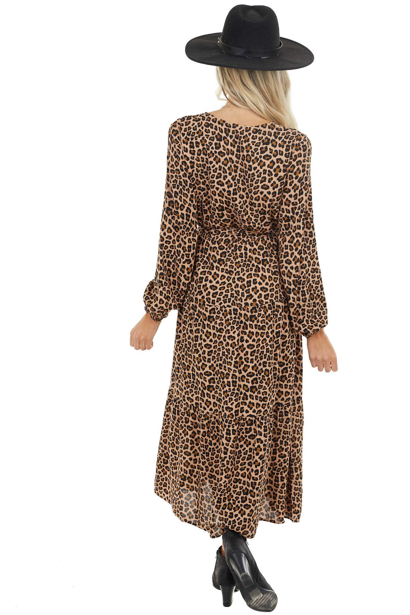 Desert Sand Button Up Leopard Print V Neck Midi Dress