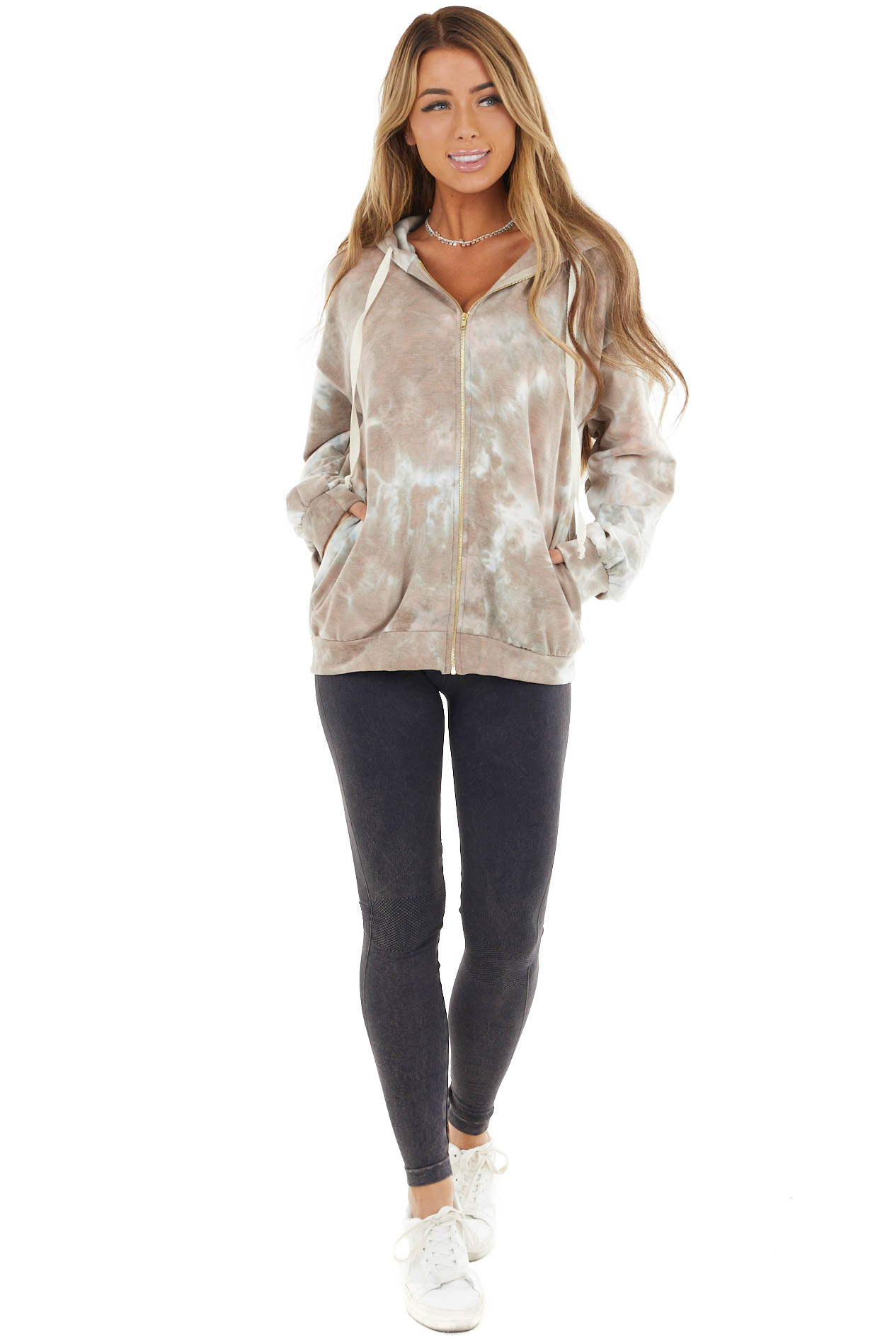 Taupe and Peach Tie Dye Zip Up Hoodie with Bubble Sleeves