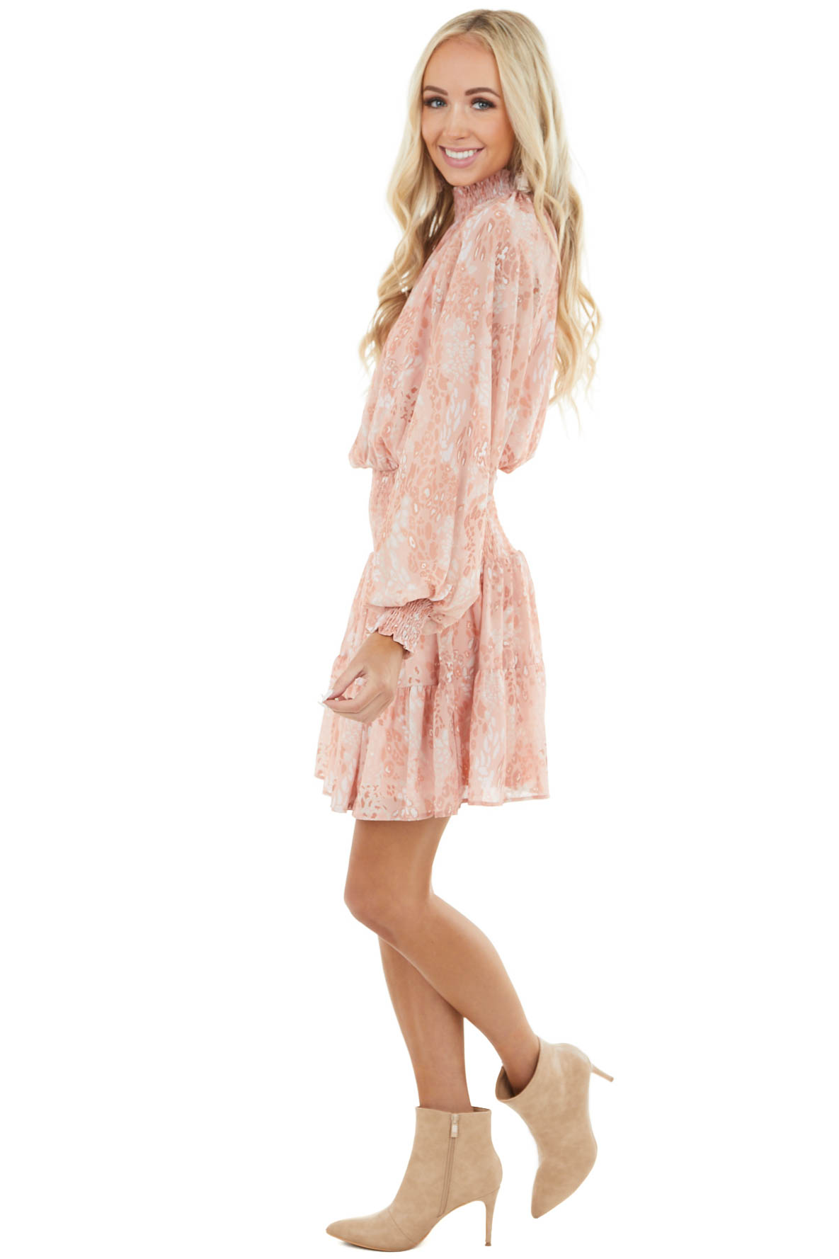 Peach Leopard Print Smocked Woven Dress with Mock Neck
