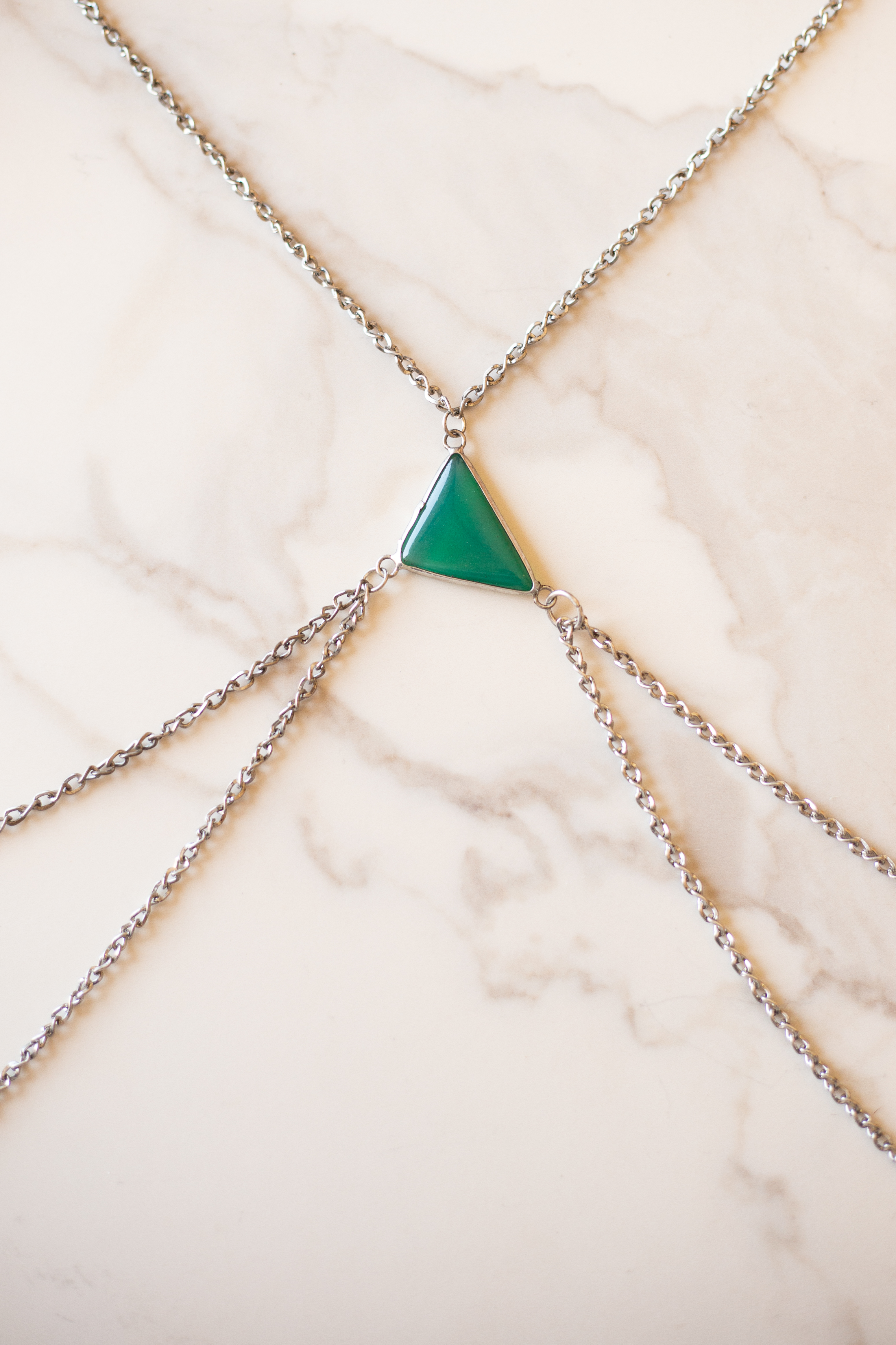 Antique Silver Body Chain with Triangle Moss Green Pendant