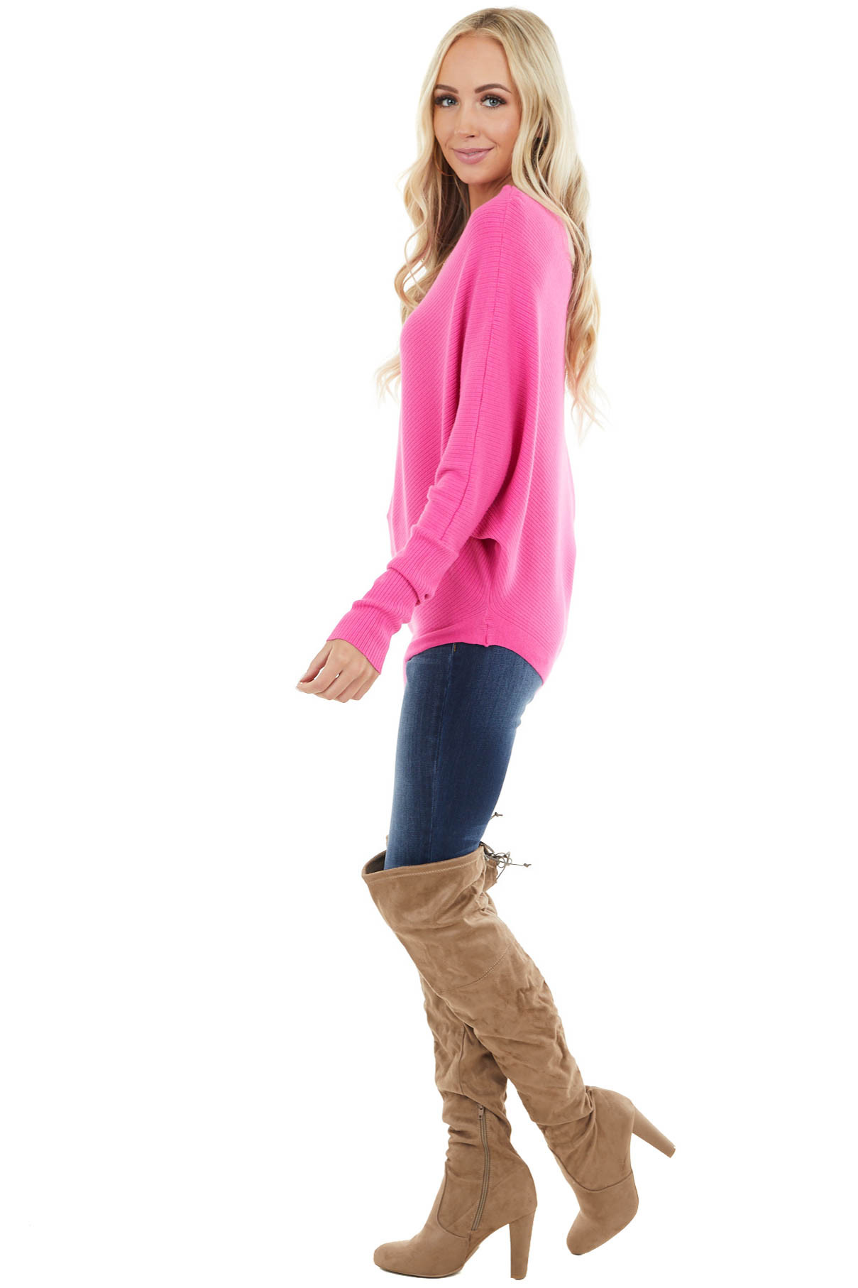 Hot Pink Ribbed Knit Asymmetrical Off the Shoulder Top