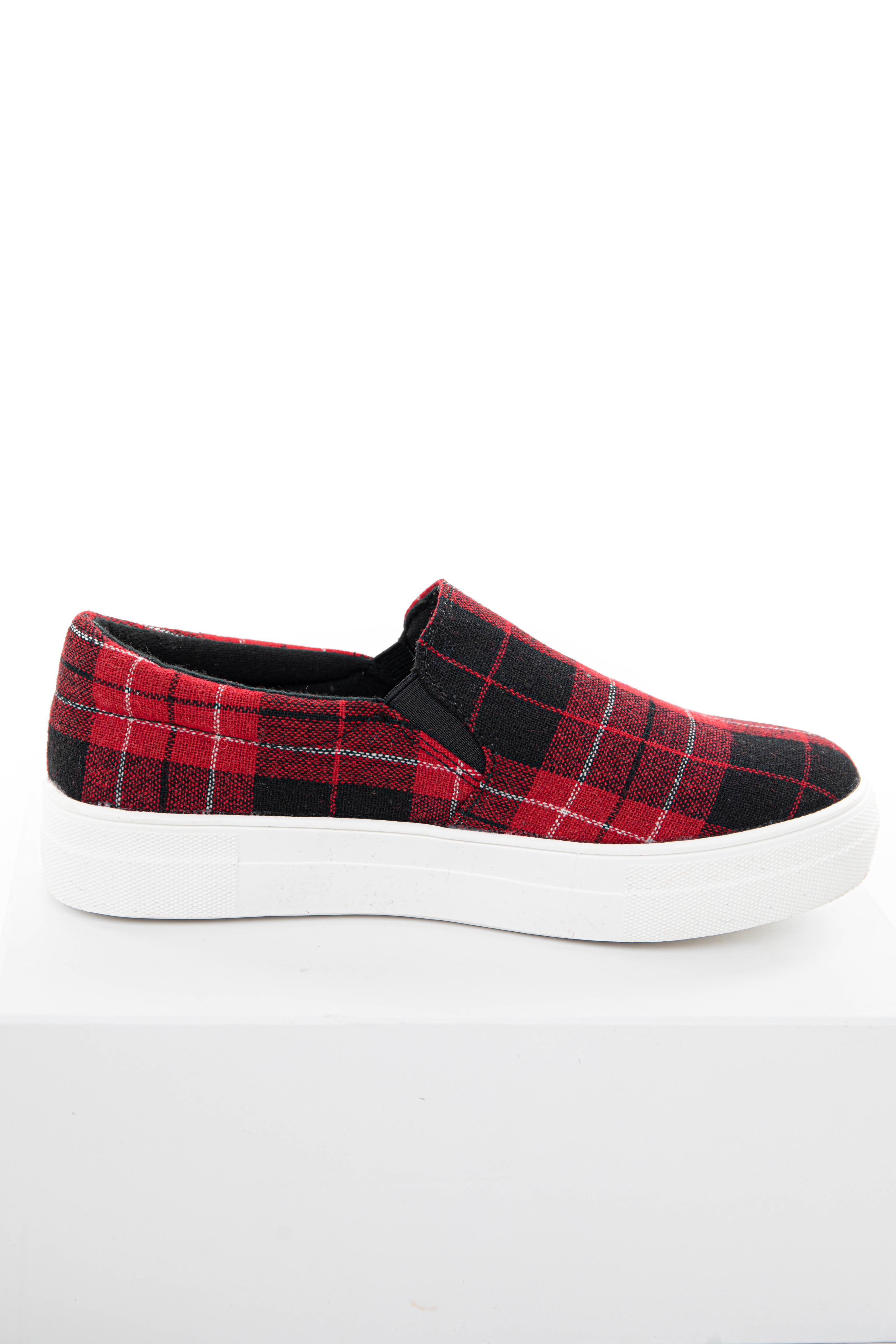 Cranberry and Black Plaid Slip On Sneakers with Rubber Soles