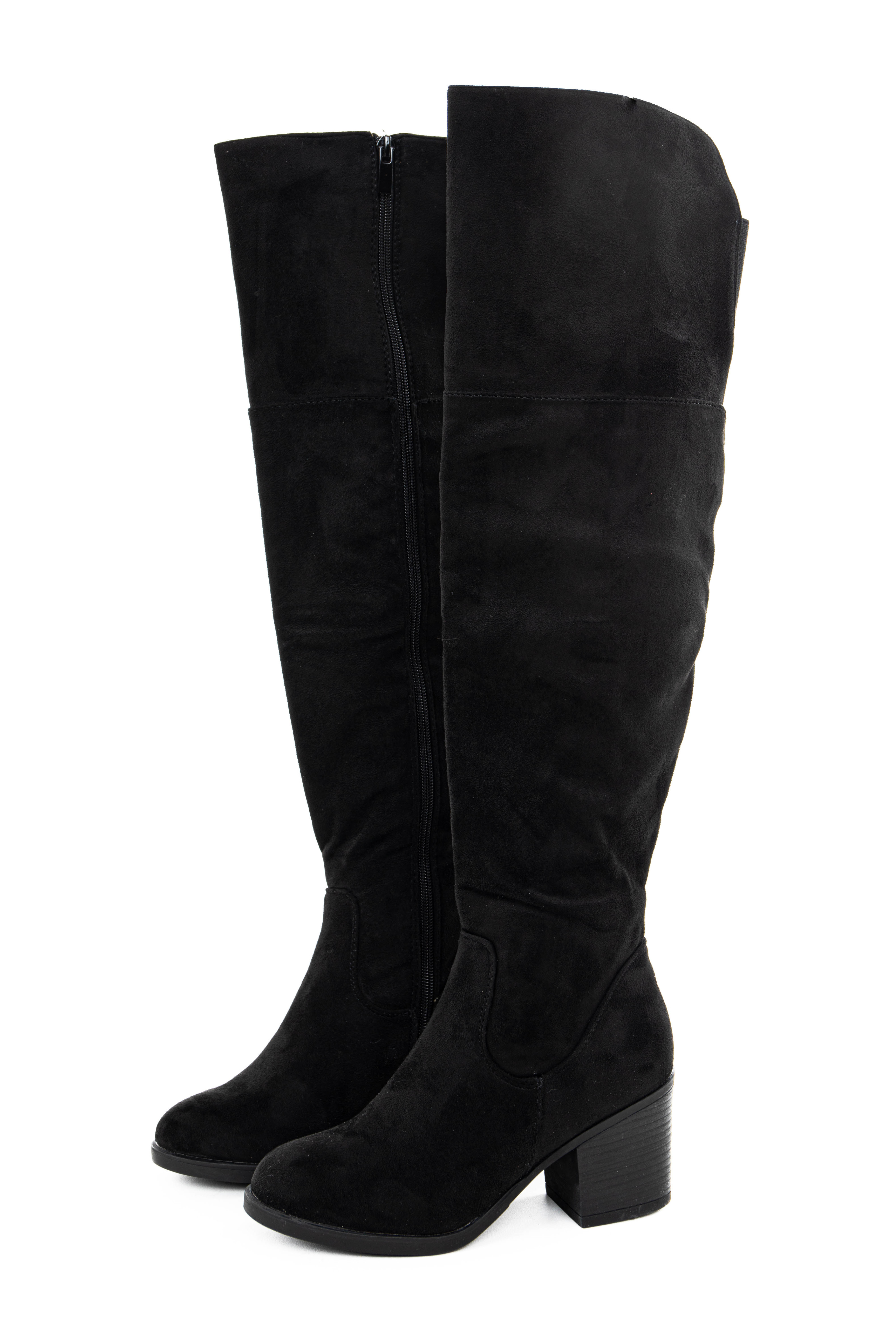 Black Faux Suede Knee High Stacked Heel Boots