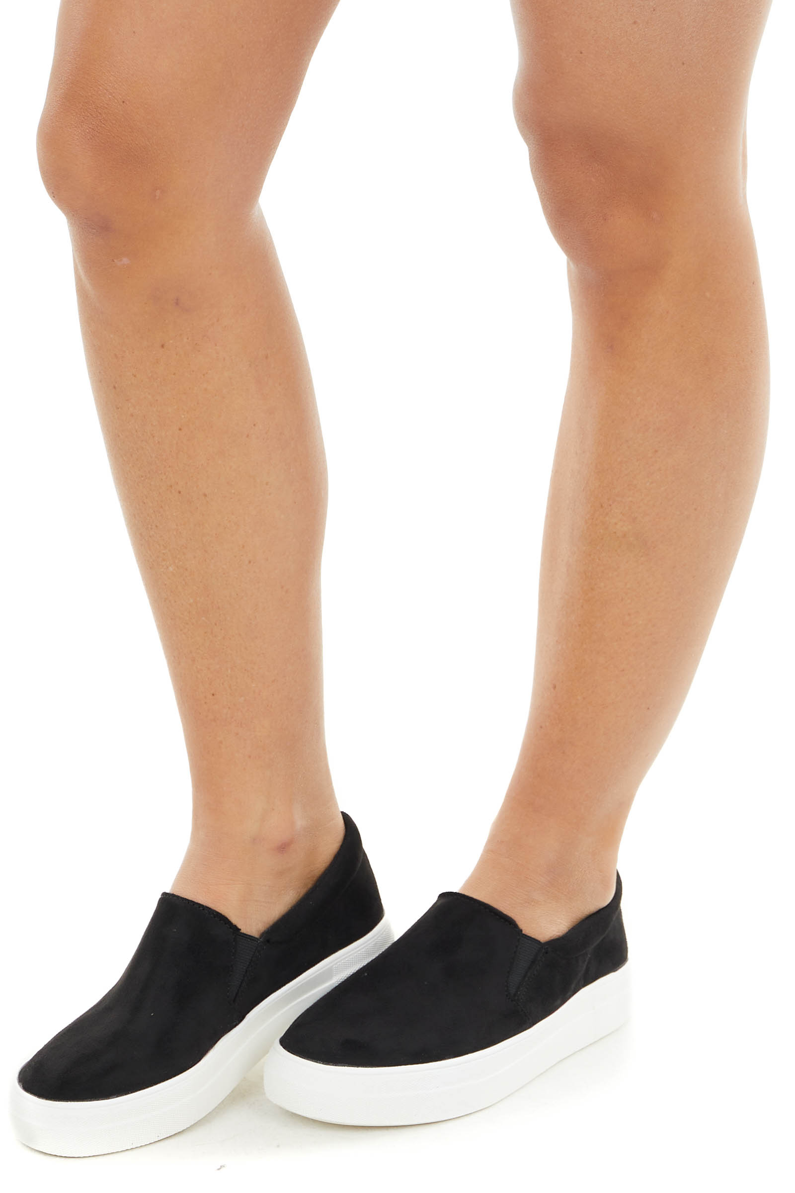 Black Faux Suede Slip On Sneakers with Rubber Soles