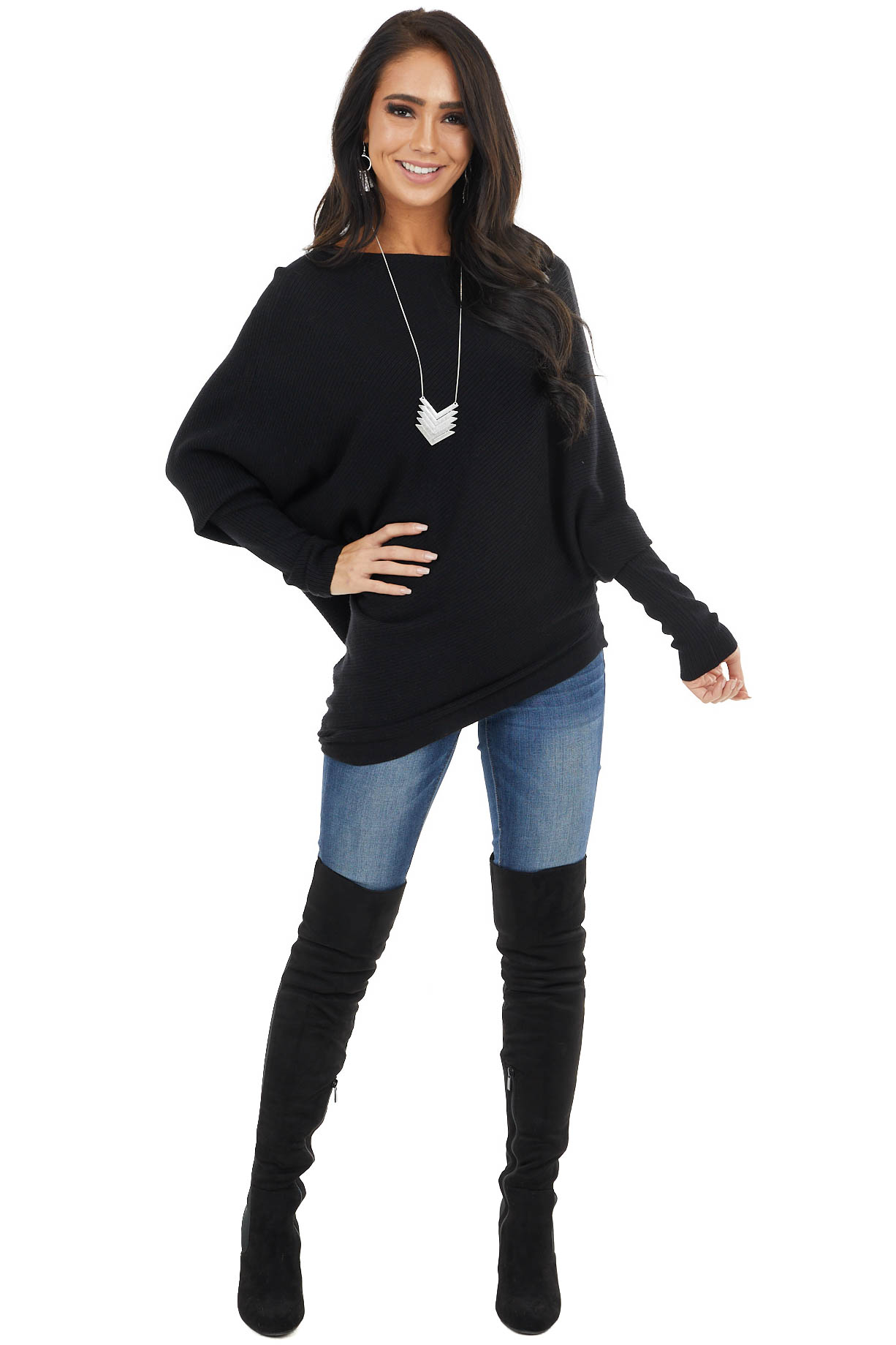 Black Ribbed Knit Asymmetrical Off the Shoulder Top
