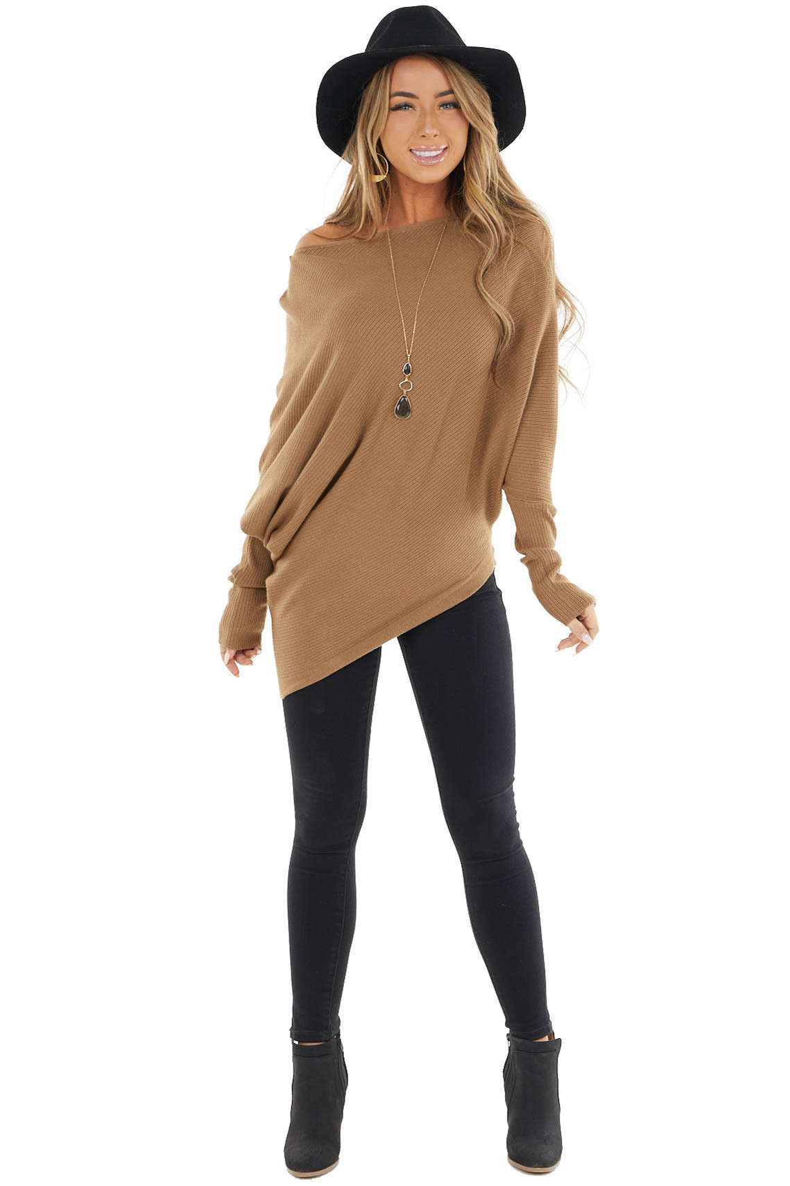 Camel Ribbed Knit Asymmetrical Off the Shoulder Top