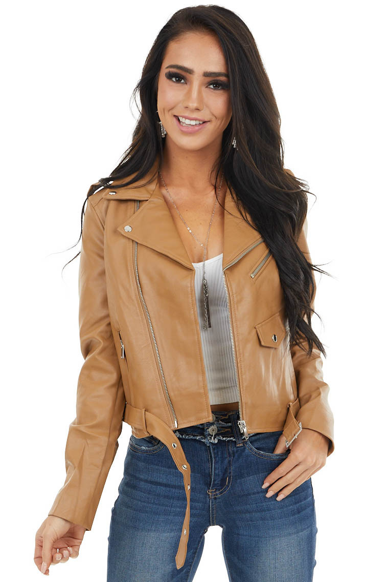 Camel Faux Leather Jacket with Pockets and Belt Detail