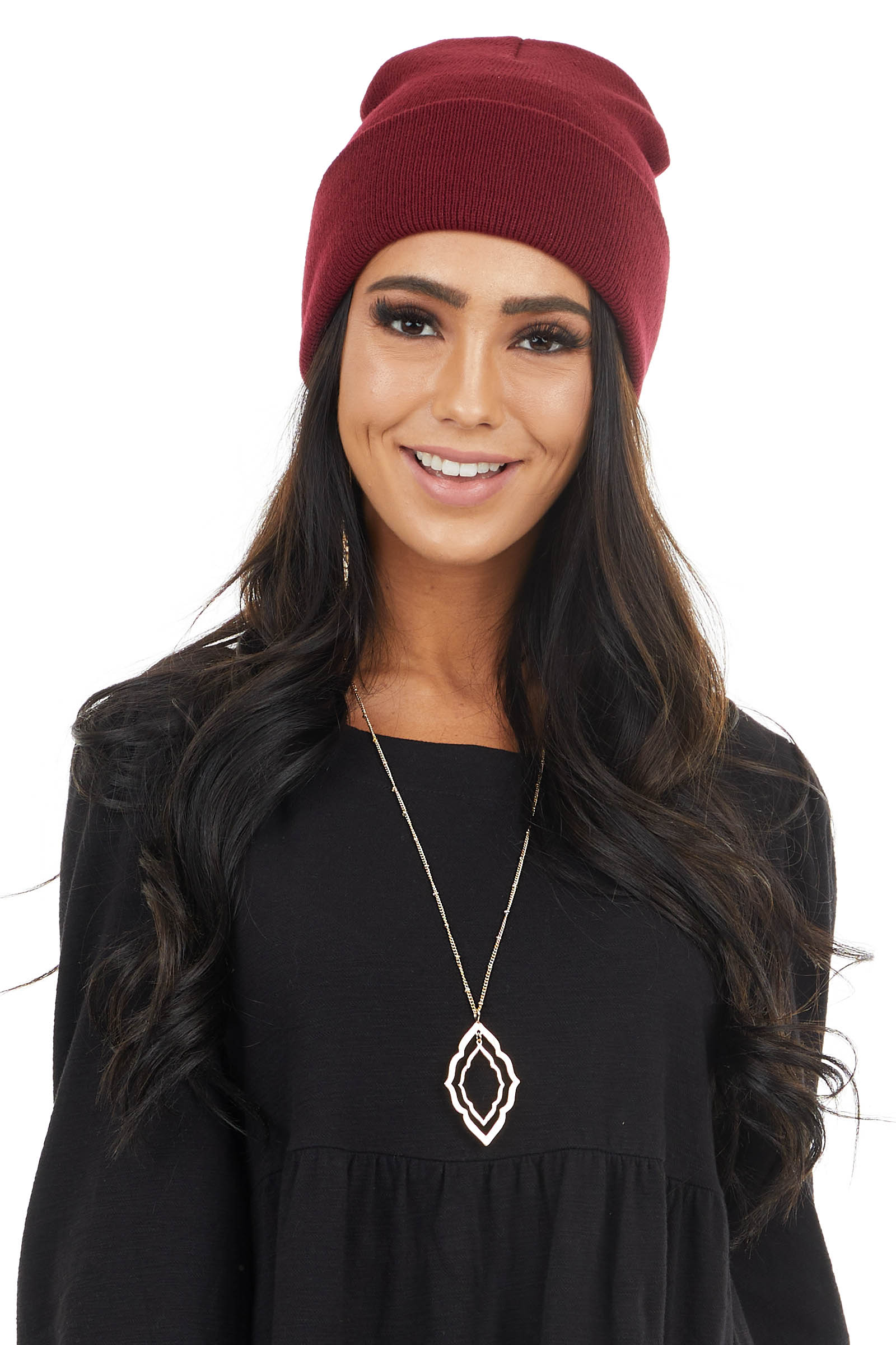 Wine Solid Comfy Knit Basic Beanie