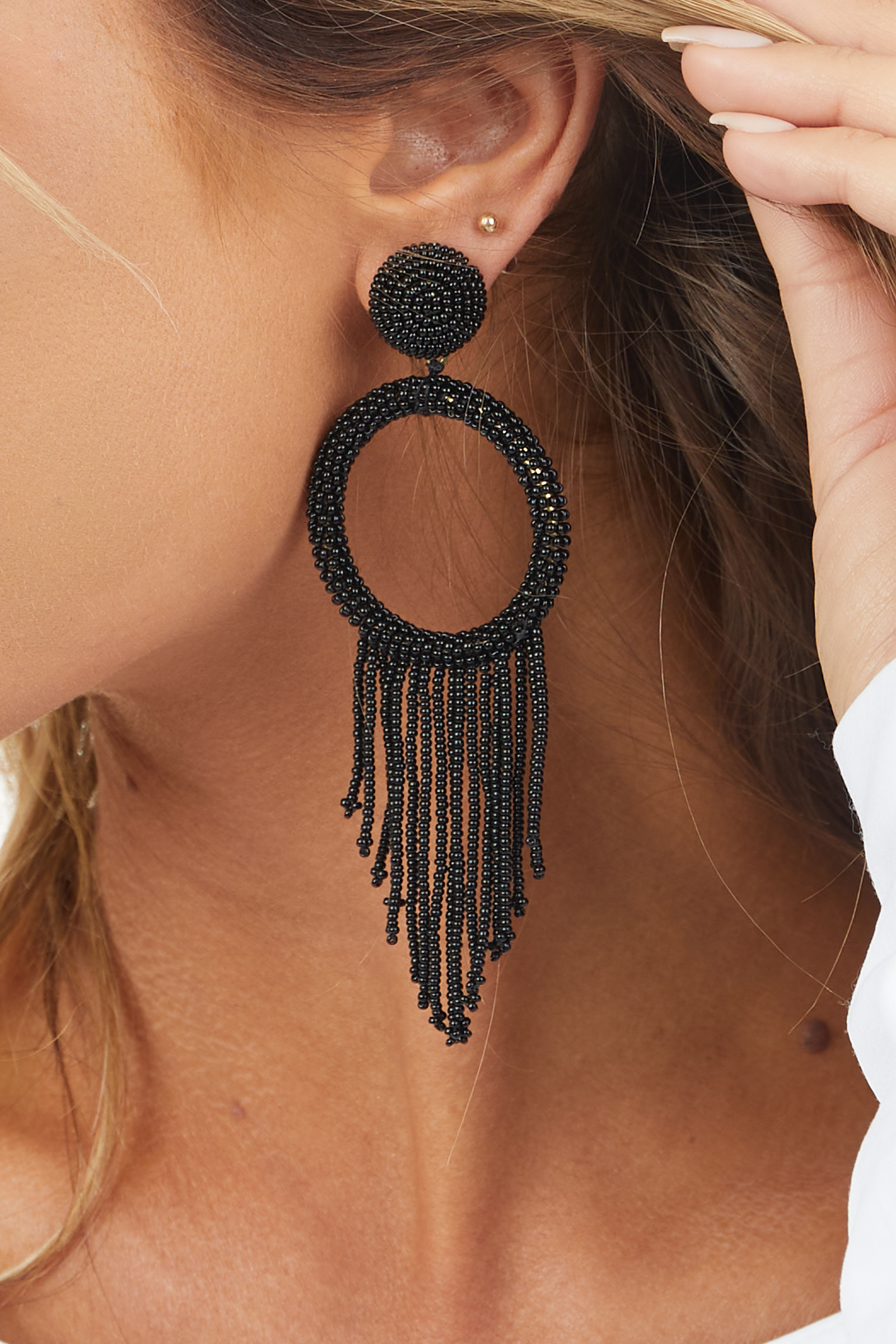 Black Beaded Circle Tassel Dangle Earrings