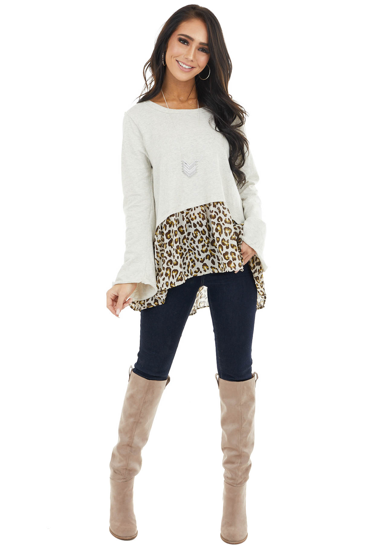 Oatmeal Leopard Print Peplum Top with Raw Edge Details
