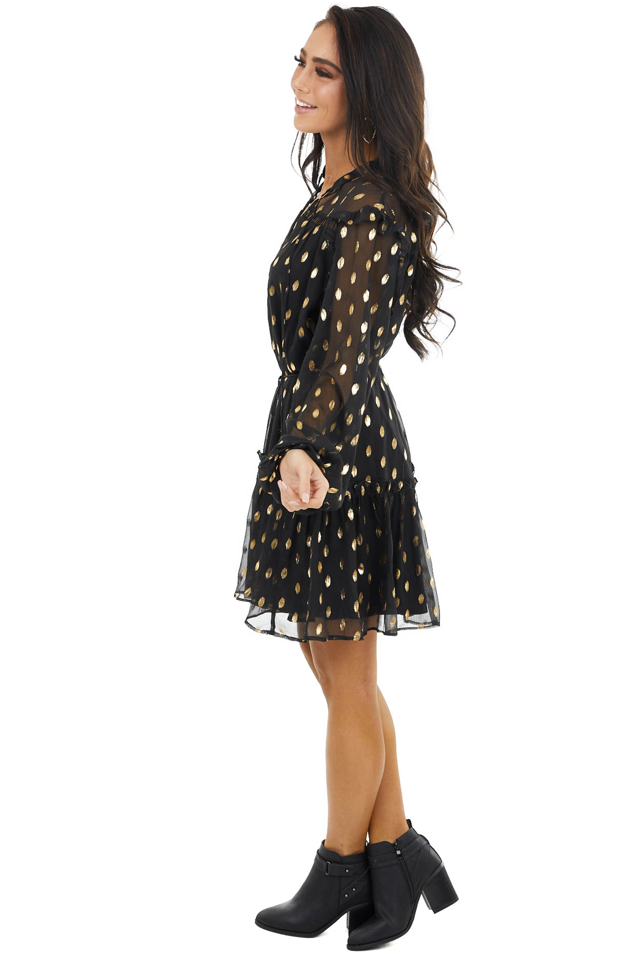 Black Ruffle Long Sleeve Dress with Gold Metallic Detail