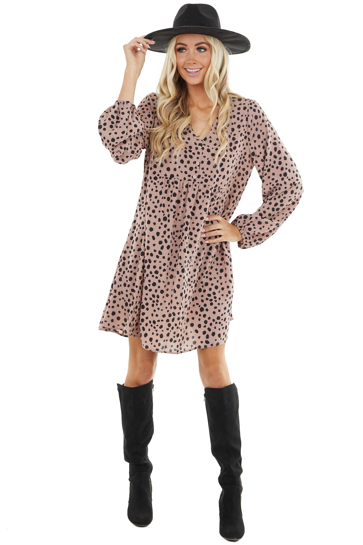Dusty Rose Cheetah Print Baby Doll Dress with Puff Sleeves