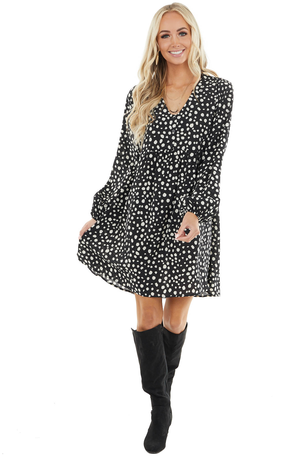 Black Cheetah Print Baby Doll Dress with Puff Sleeves