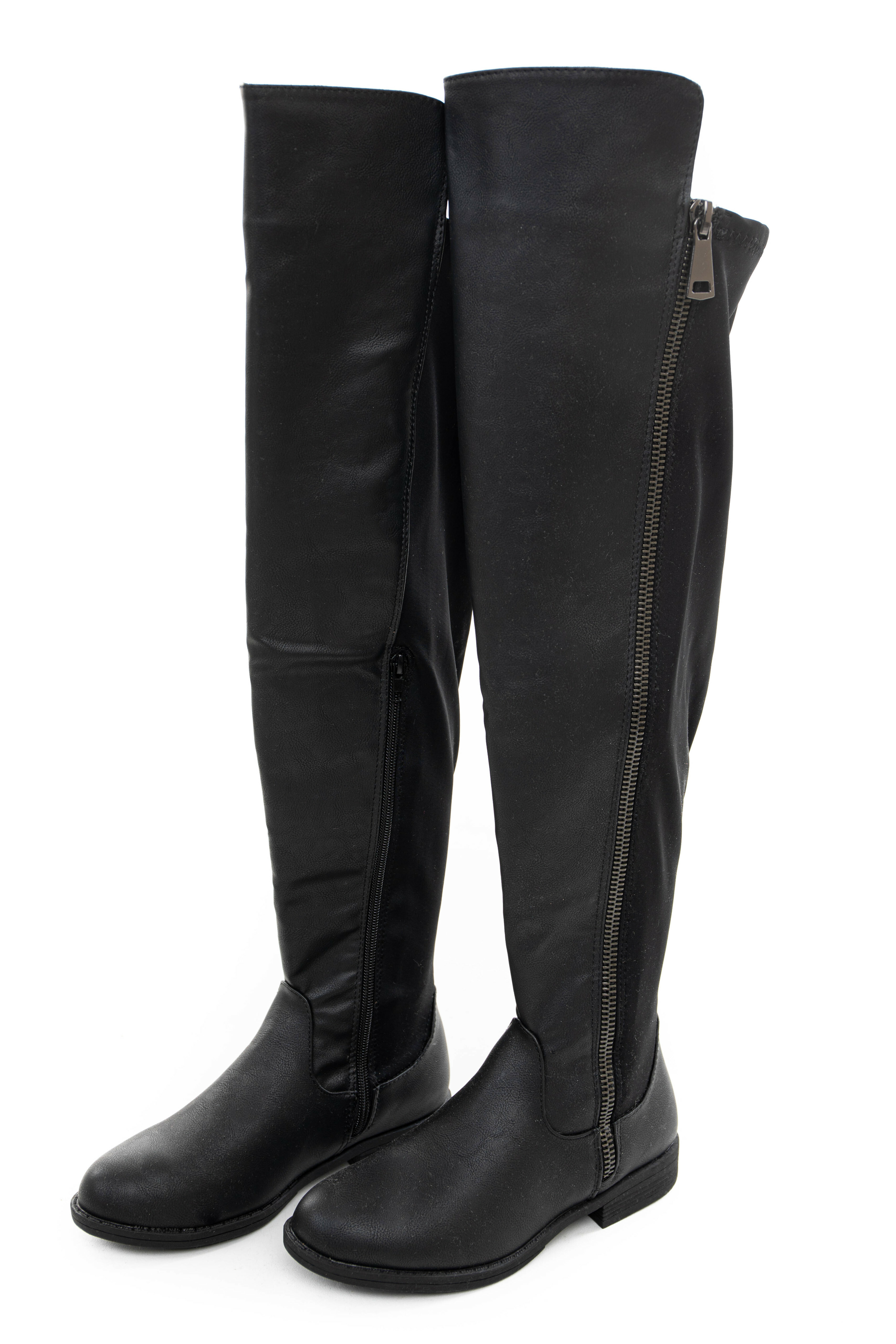 Black Faux Leather Knee High Boot with Small Heel