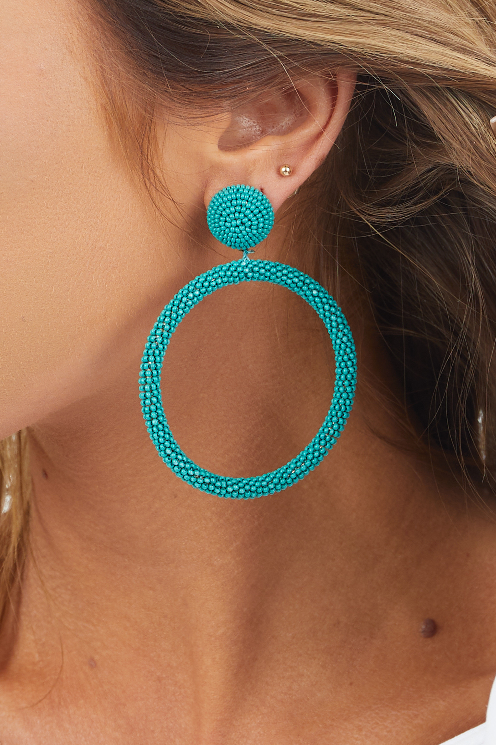 Teal Beaded Hoop Earrings with Stud Backs
