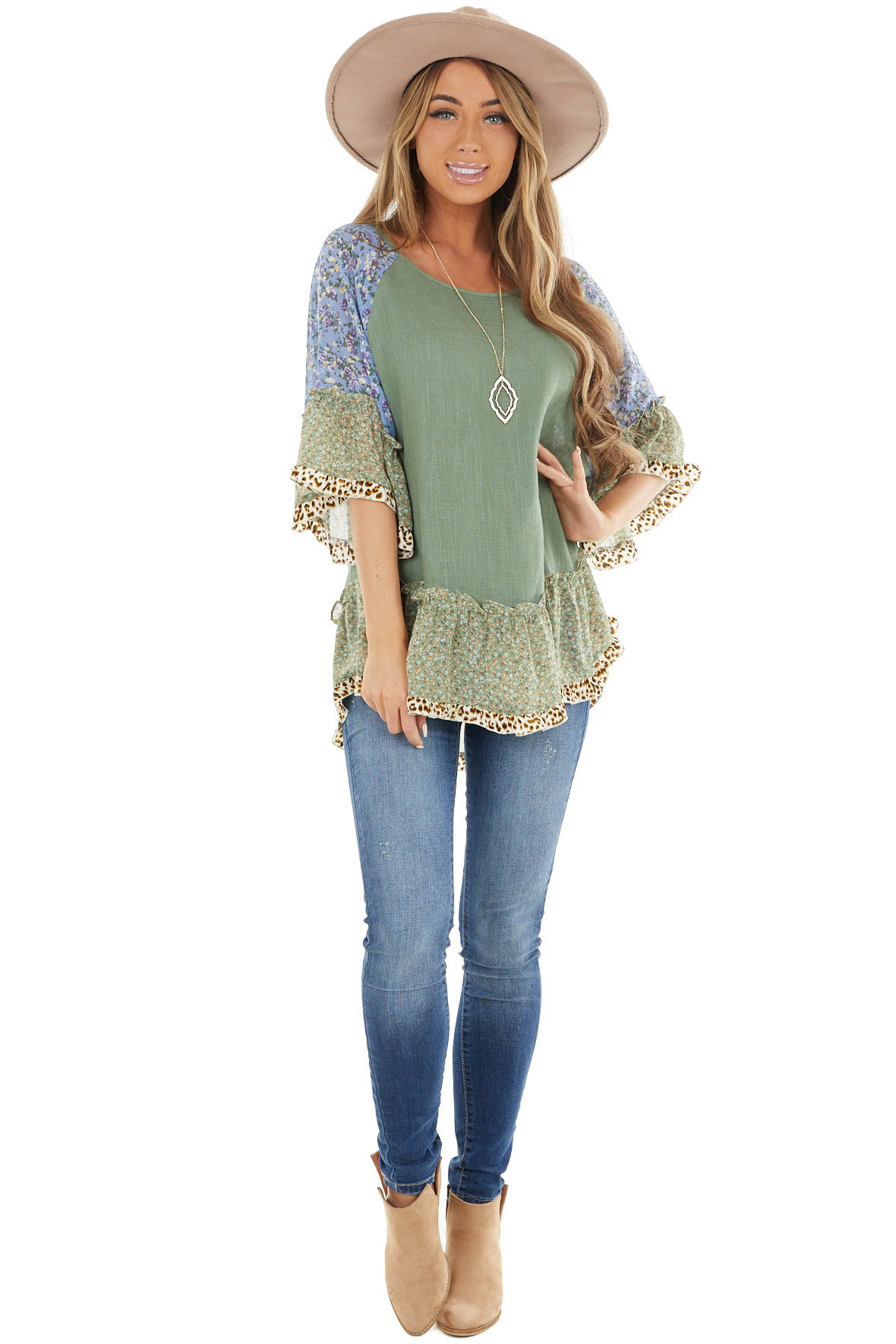 Sage Blouse with Multi Floral Print Ruffle Sleeves and Hem