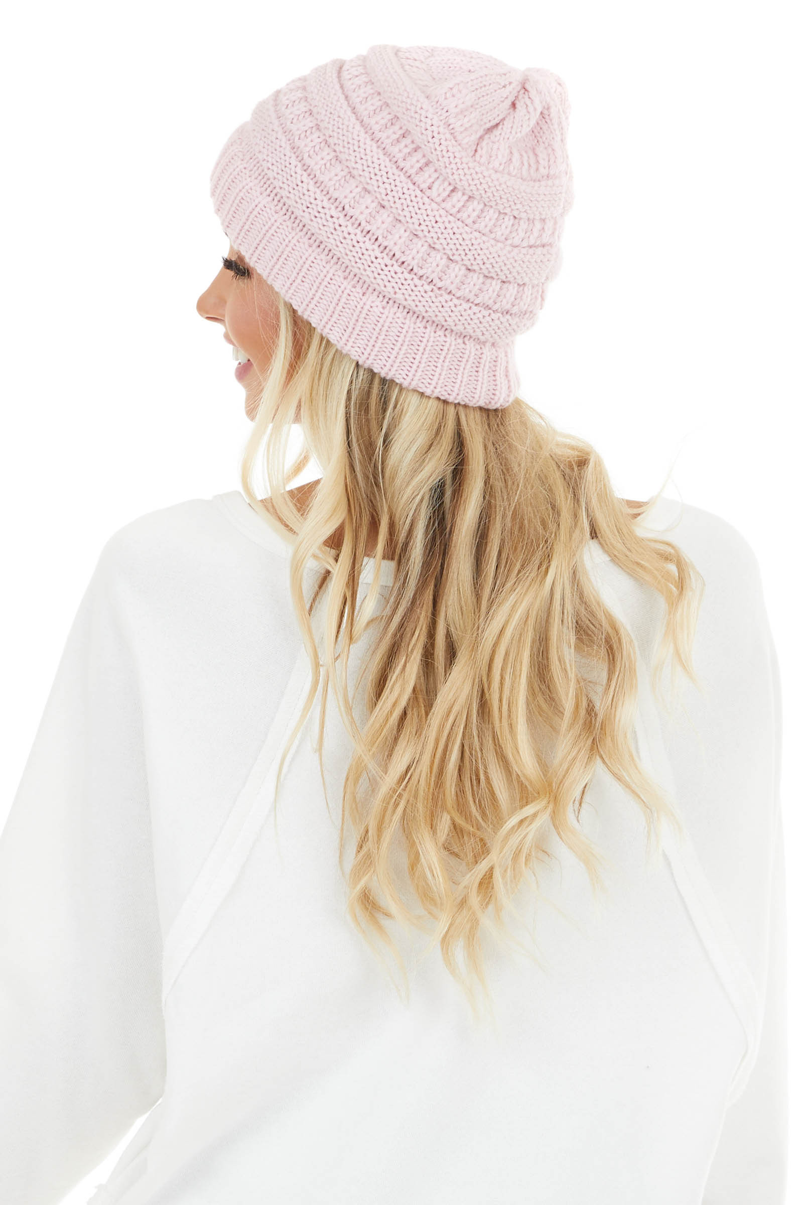 Blush Pink Chunky Knit Ribbed Beanie