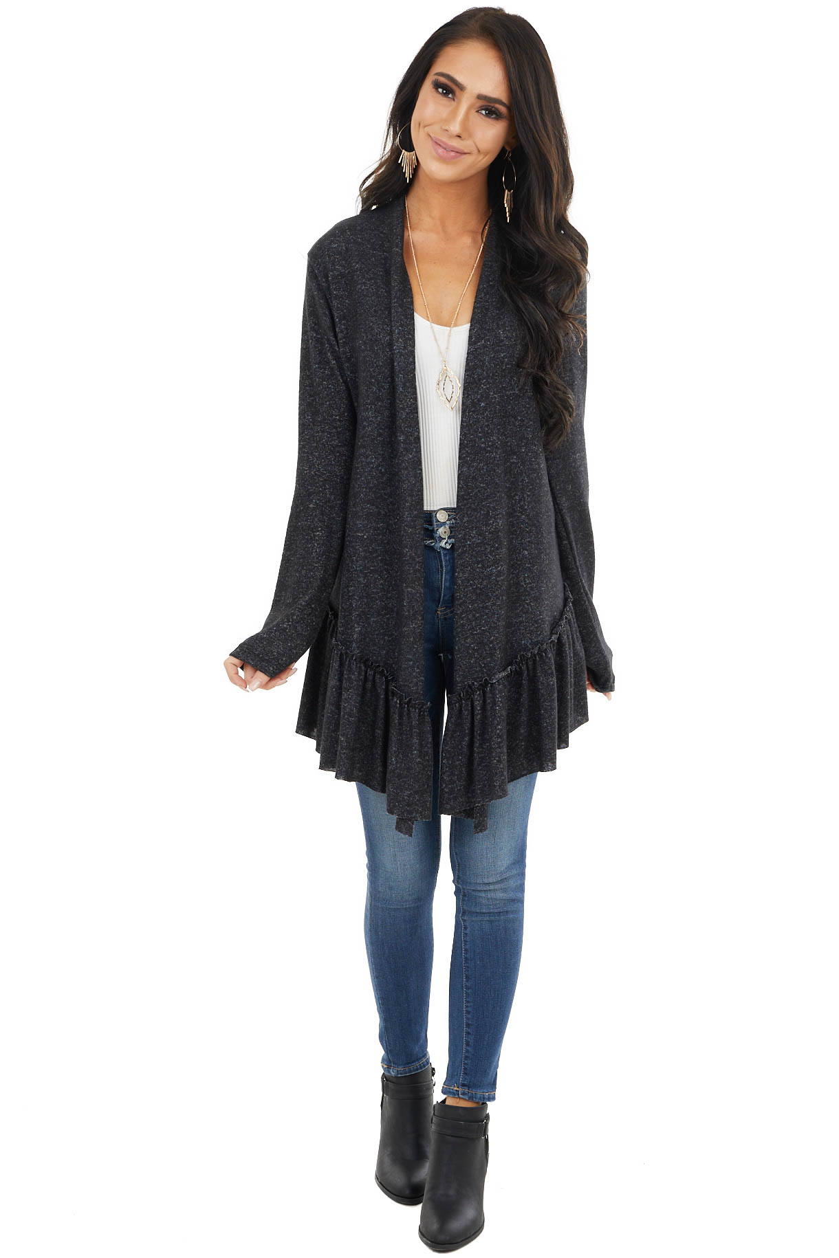 Charcoal Two Tone Long Sleeve Cardigan with Ruffle Detail