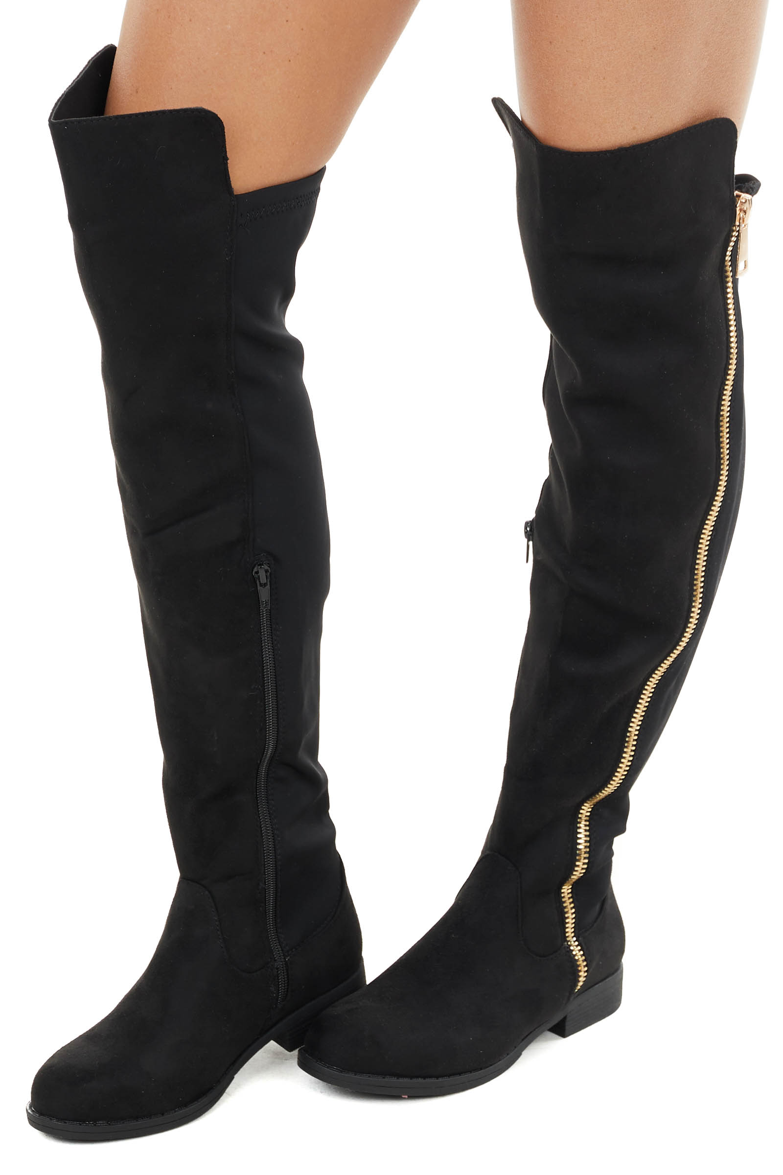 Black Faux Suede Knee High Boot with Small Heel