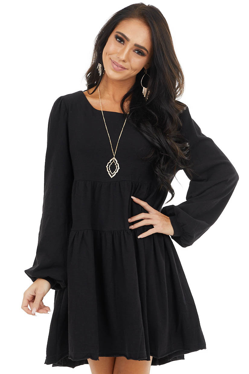 Black Babydoll Tiered Long Sleeve Dress with Key Hole Back