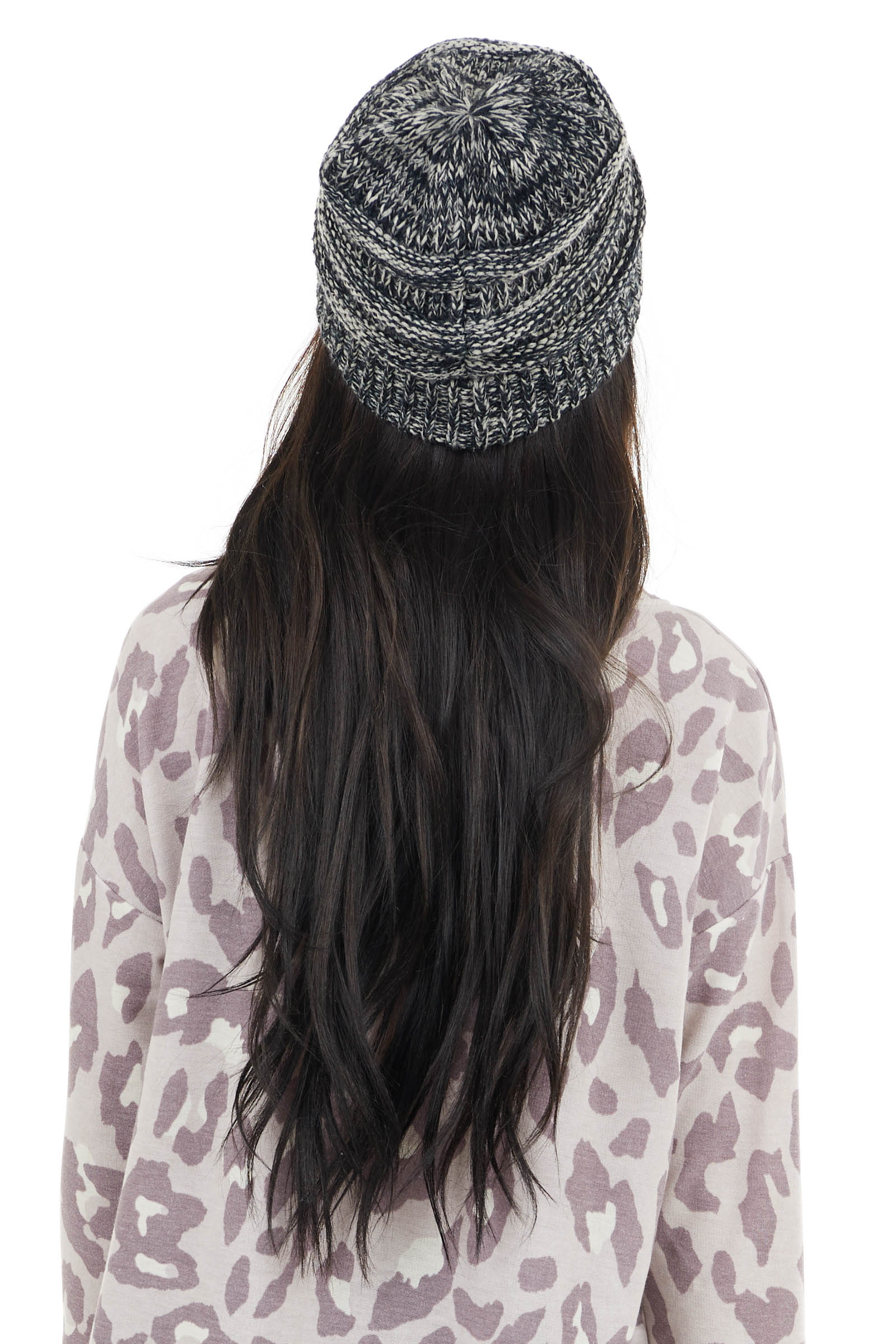 Black and Ivory Chunky Knit Ribbed Beanie