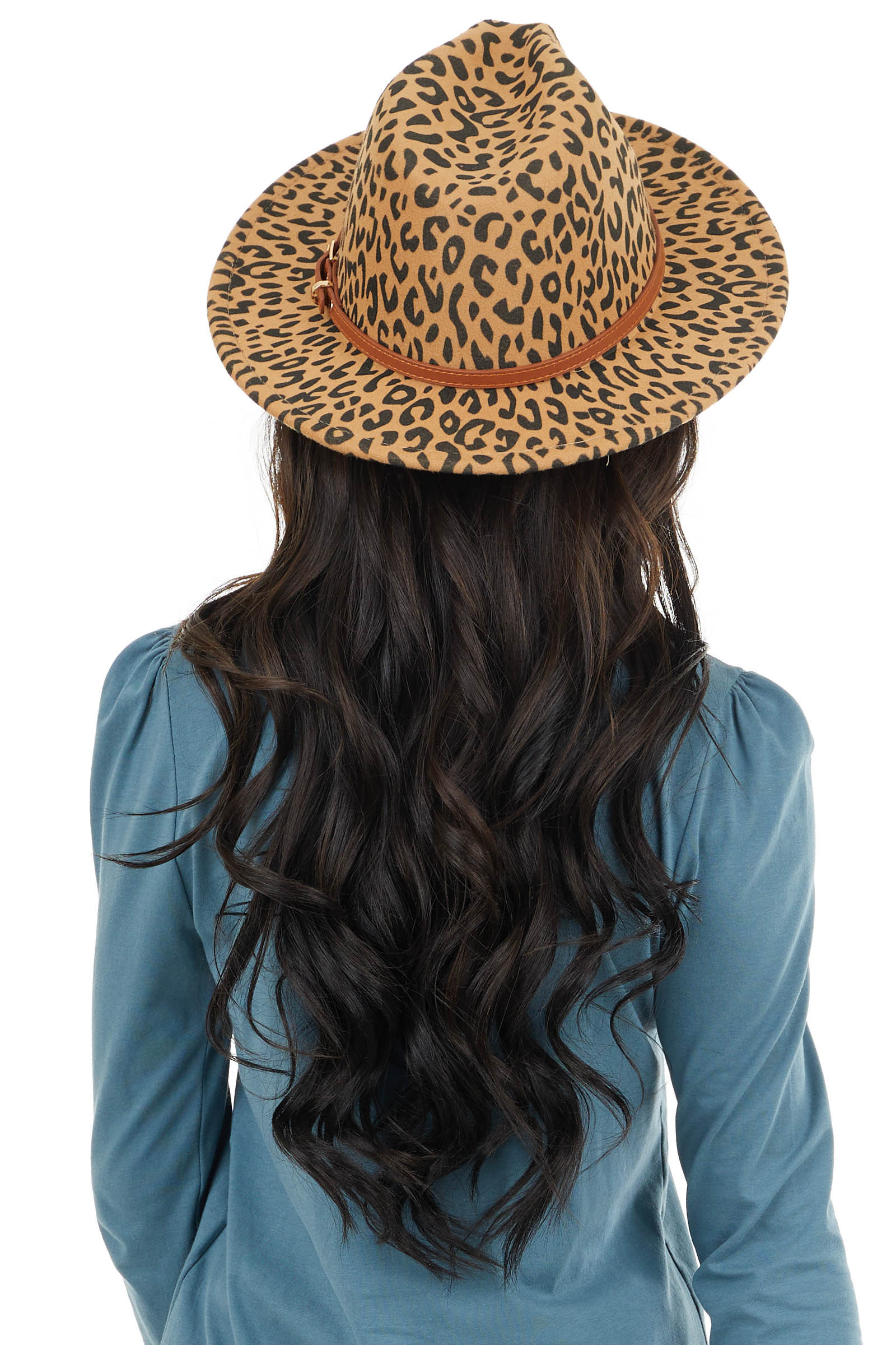 Beige Leopard Print Panama Hat with Brown Belt Detail