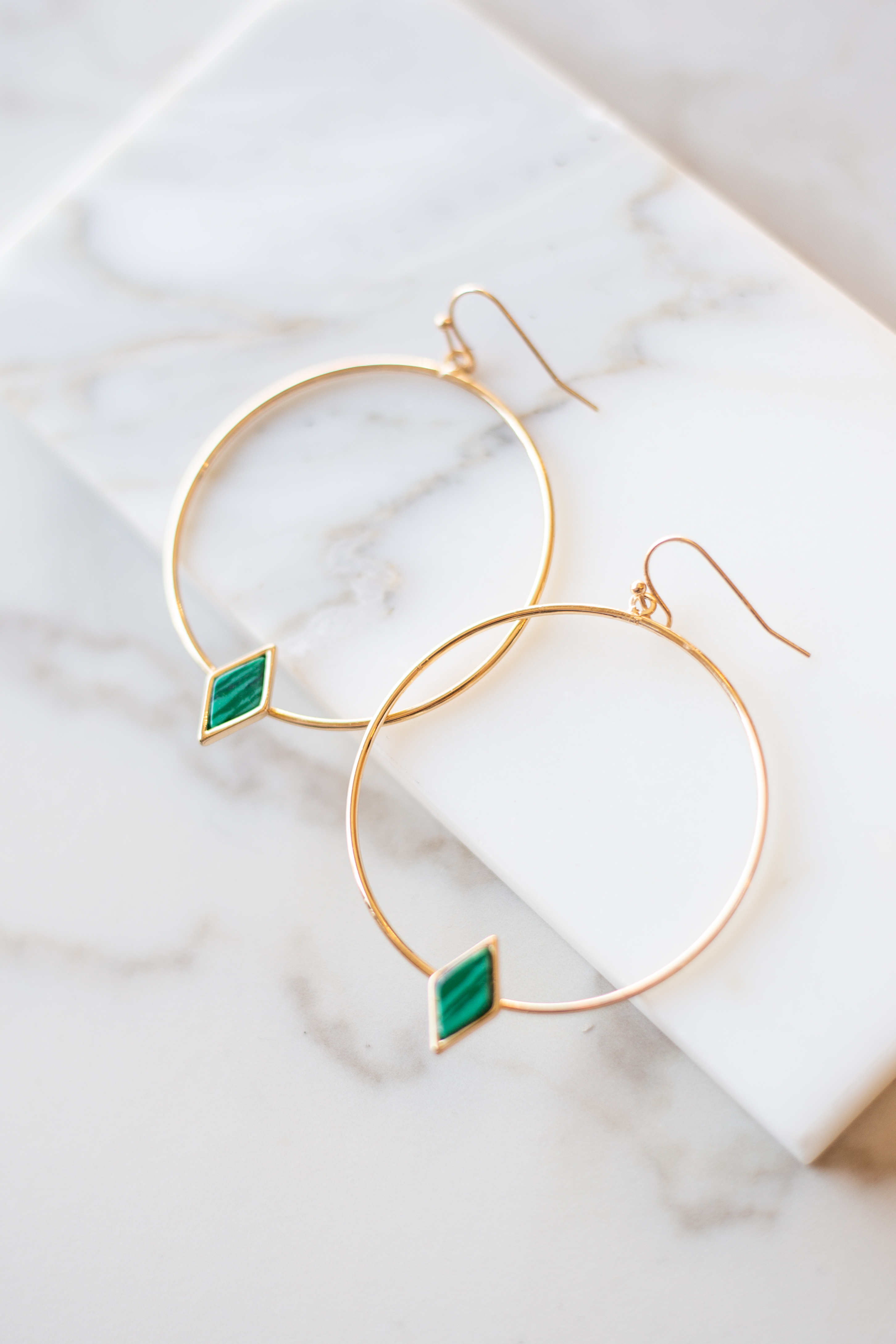 Gold Hoop Earrings with Tiny Green Stone Detail