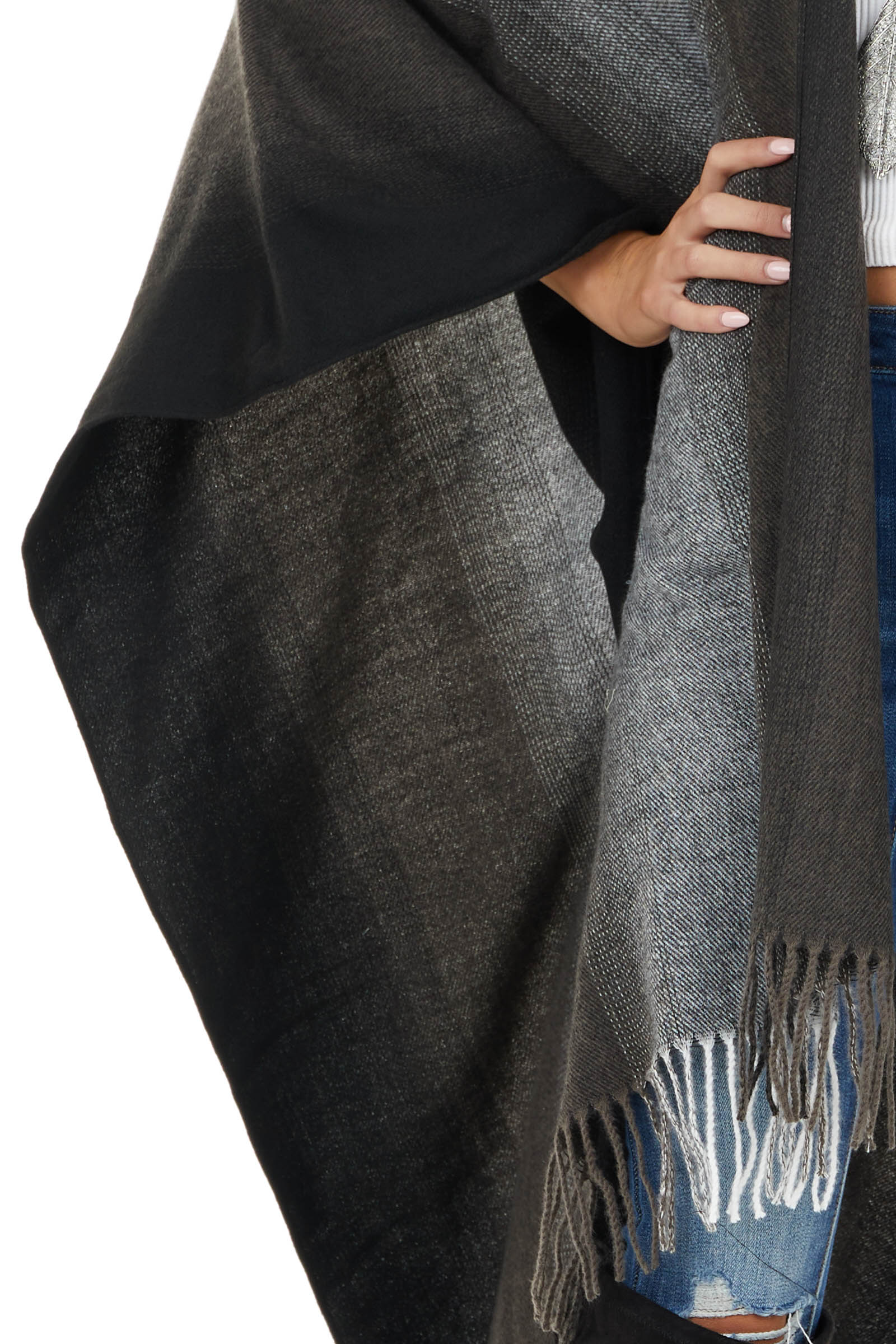 Charcoal Grey Ombre Colorblock Poncho with Fringe Detail