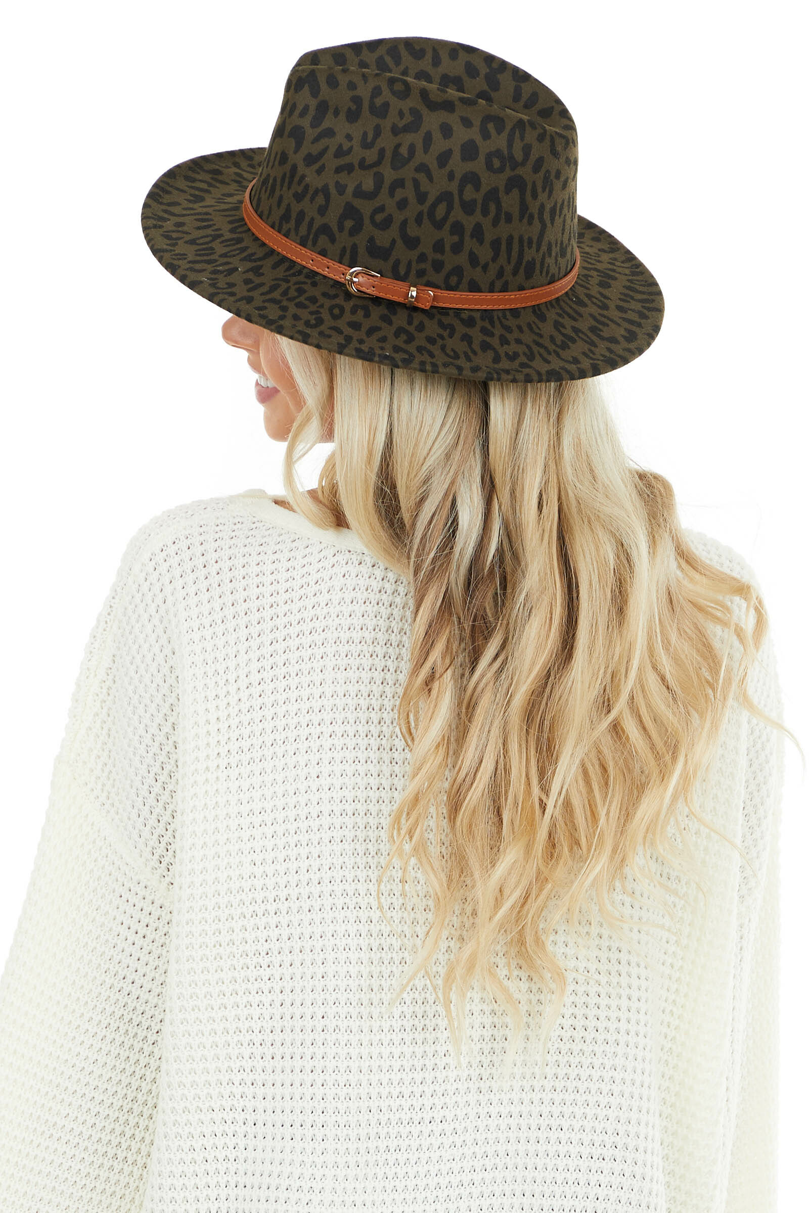 Hunter Green Leopard Print Panama Hat with Brown Belt Detail