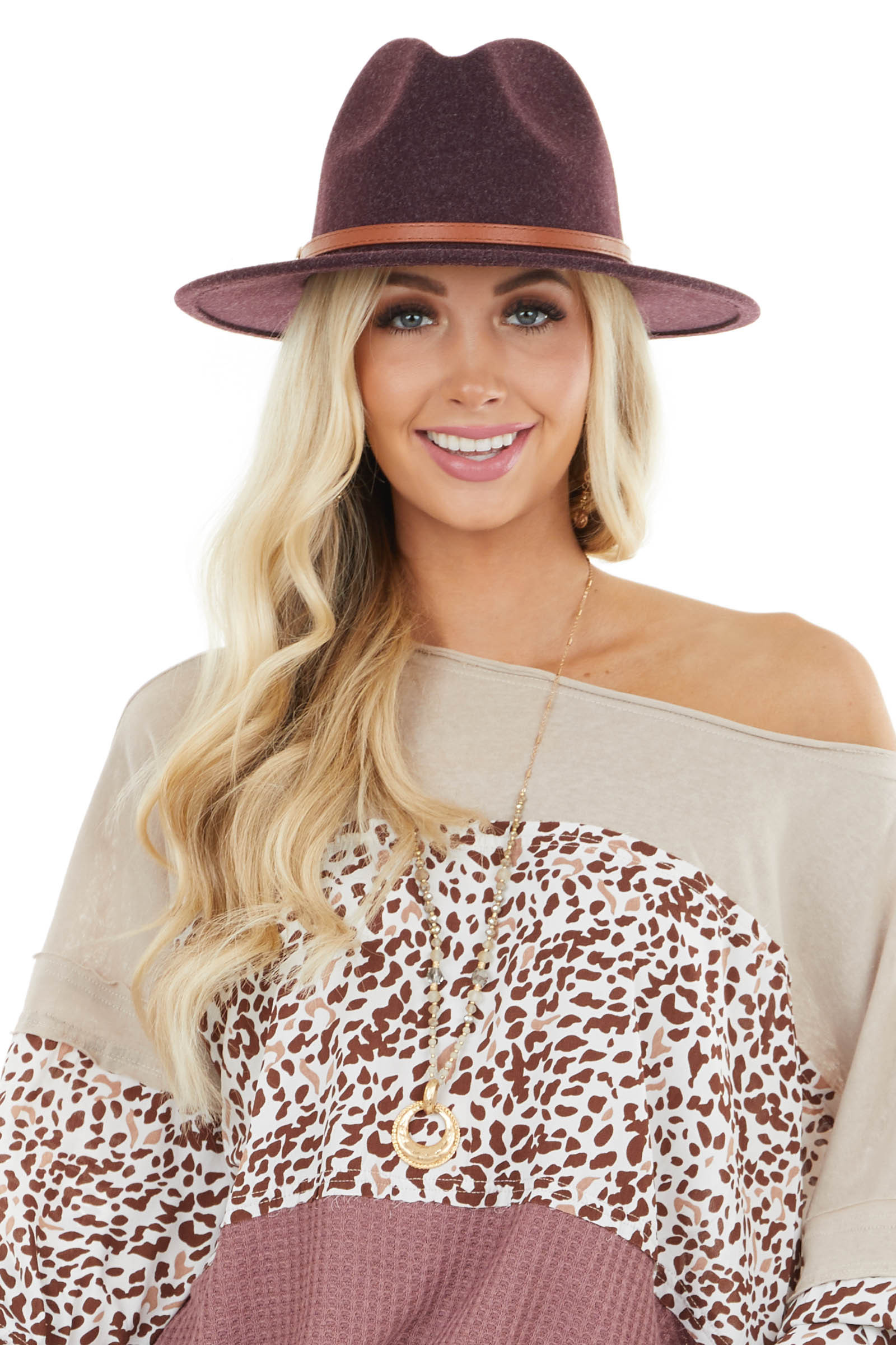 Heathered Plum Faux Wool Panama Hat with Brown Belt Detail