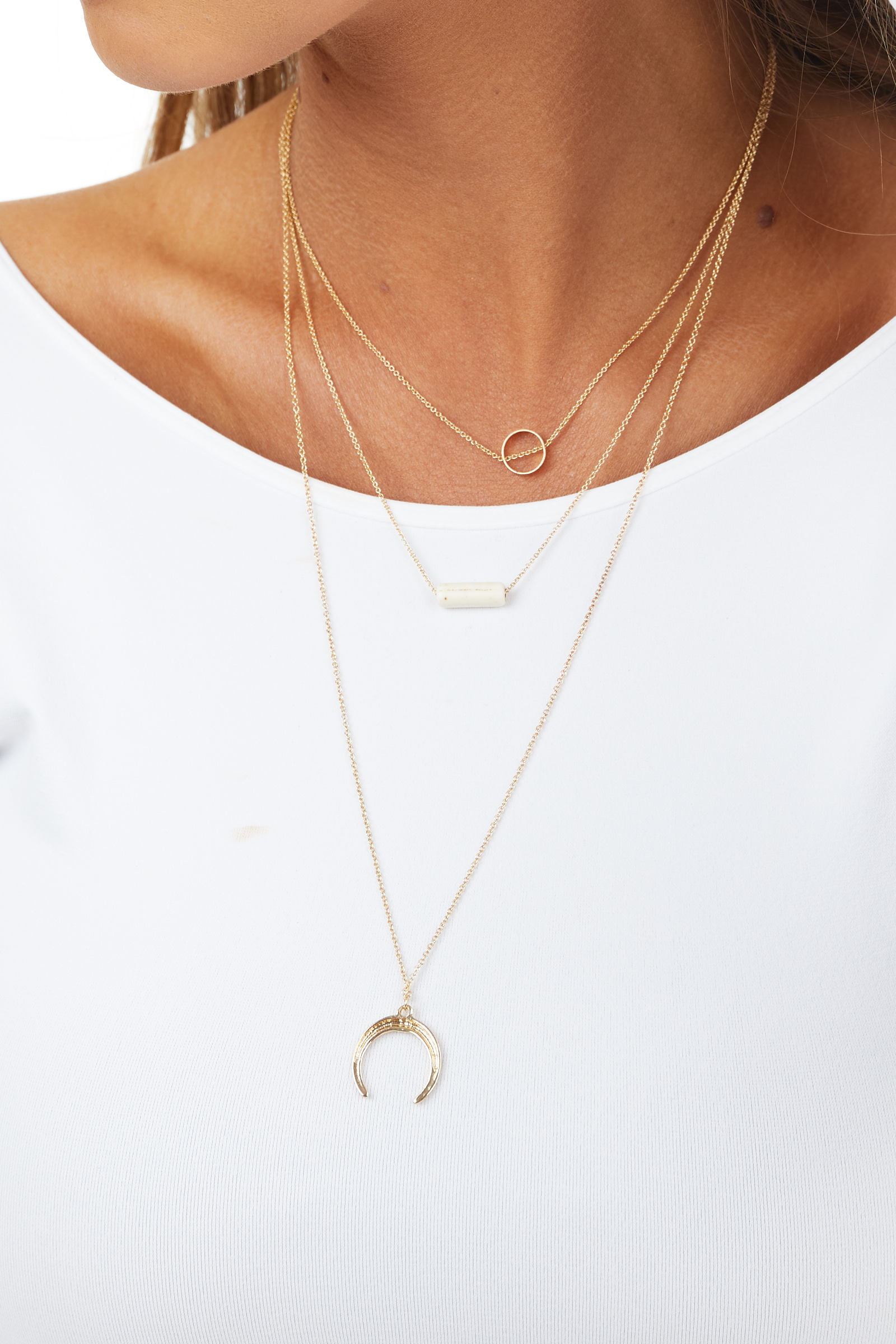 Gold Long Layered Necklace with Circle and Ivory Charms