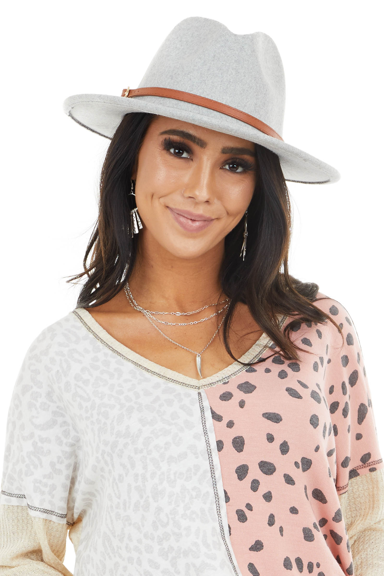 Heathered Grey Faux Wool Panama Hat with Brown Belt Detail