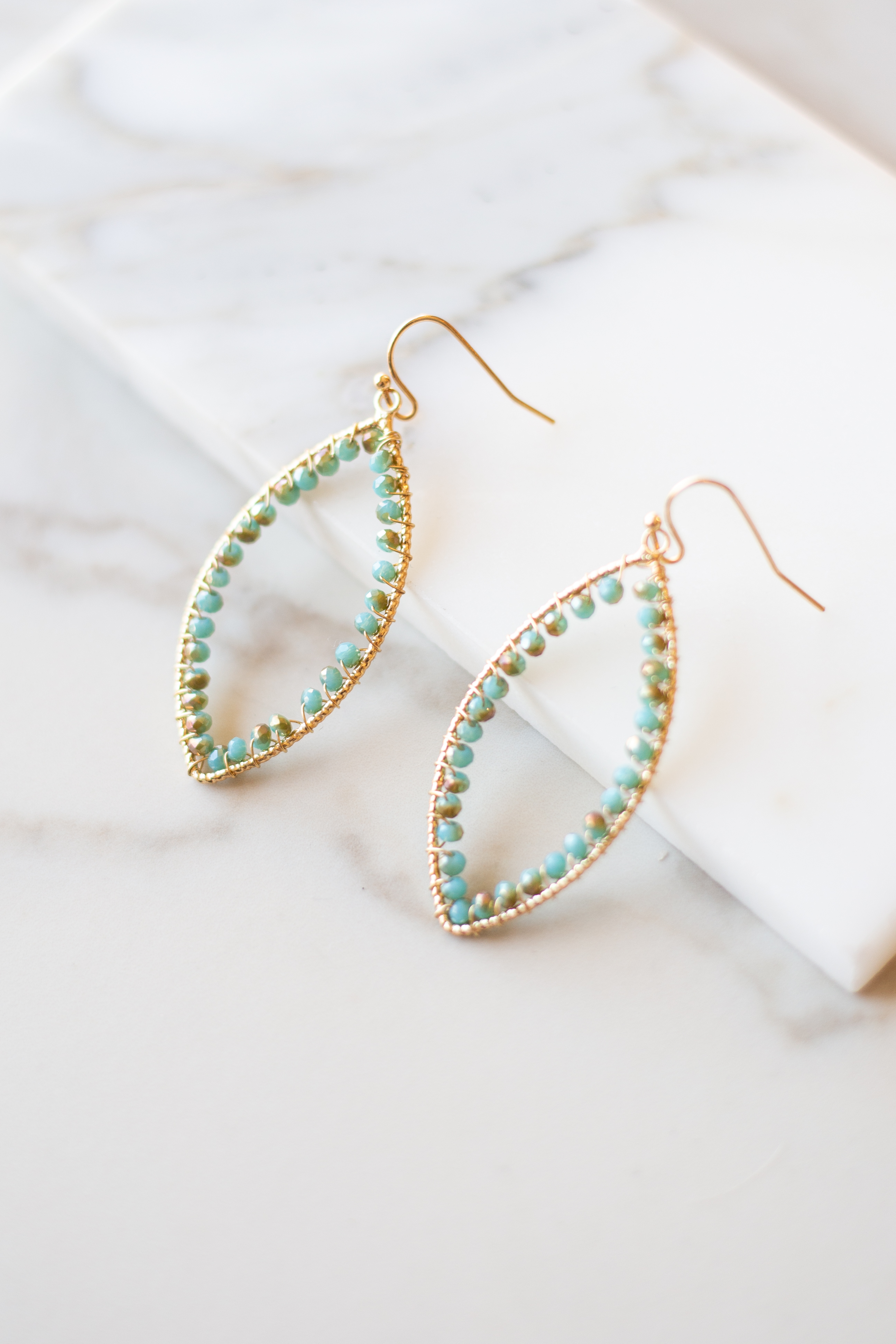 Turquoise and Gold Beaded Leaf Shaped Dangle Earrings