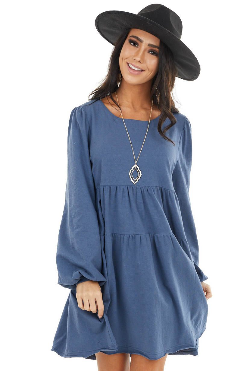 Dusty Blue Babydoll Tiered Long Sleeve Dress with Key Hole