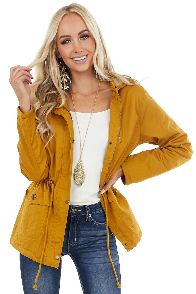 Mustard Anorak Jacket with Faux Fur Lining and Front Tie
