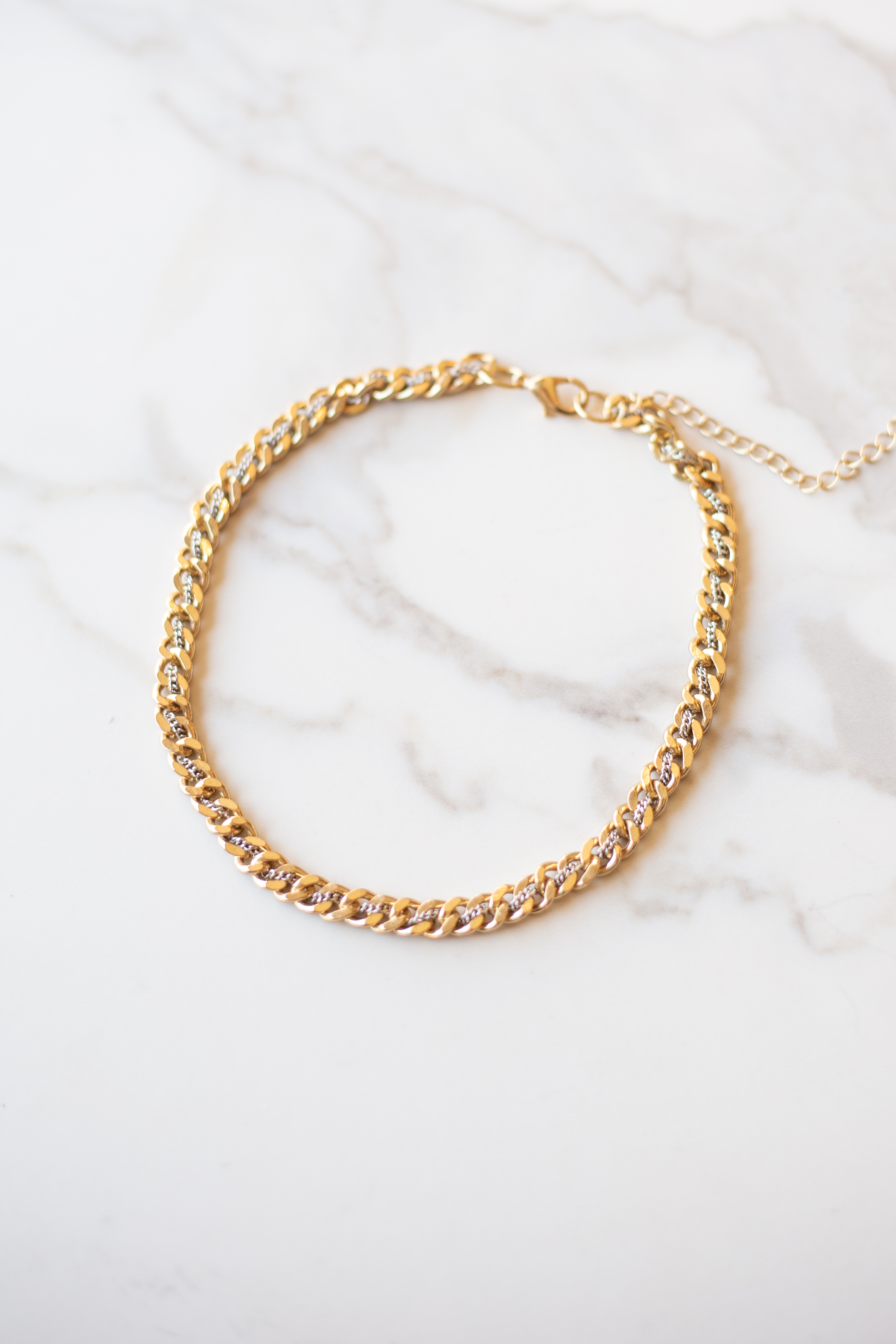 Gold and Silver Threaded Double Chain Choker Necklace