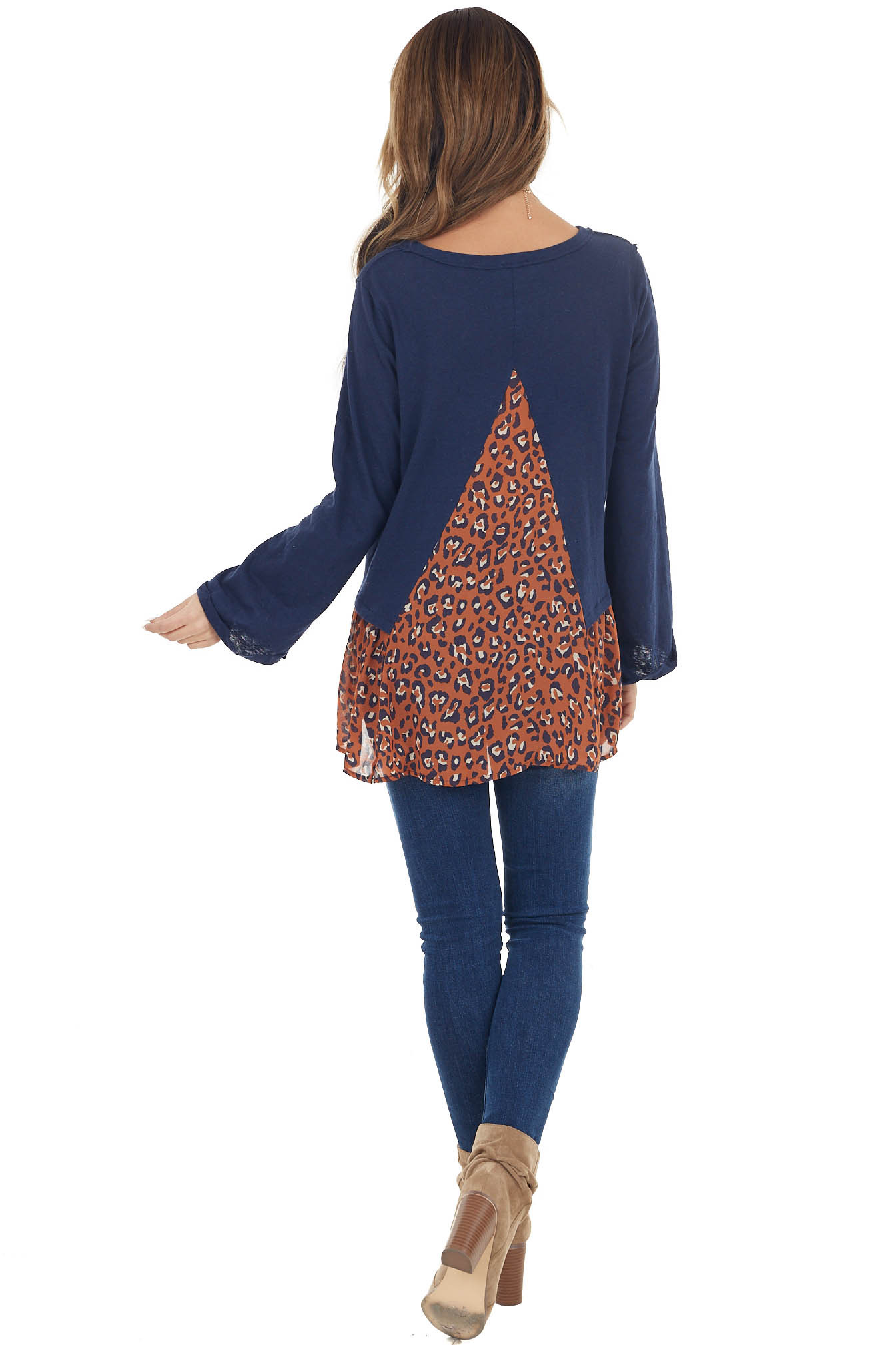 Navy Leopard Print Peplum Top with Raw Edge Details