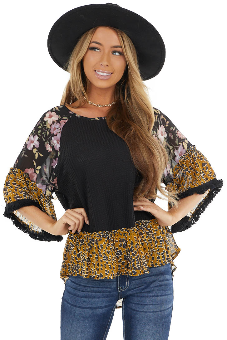 Black Multiprint Waffle Knit Top with Fringe Detail