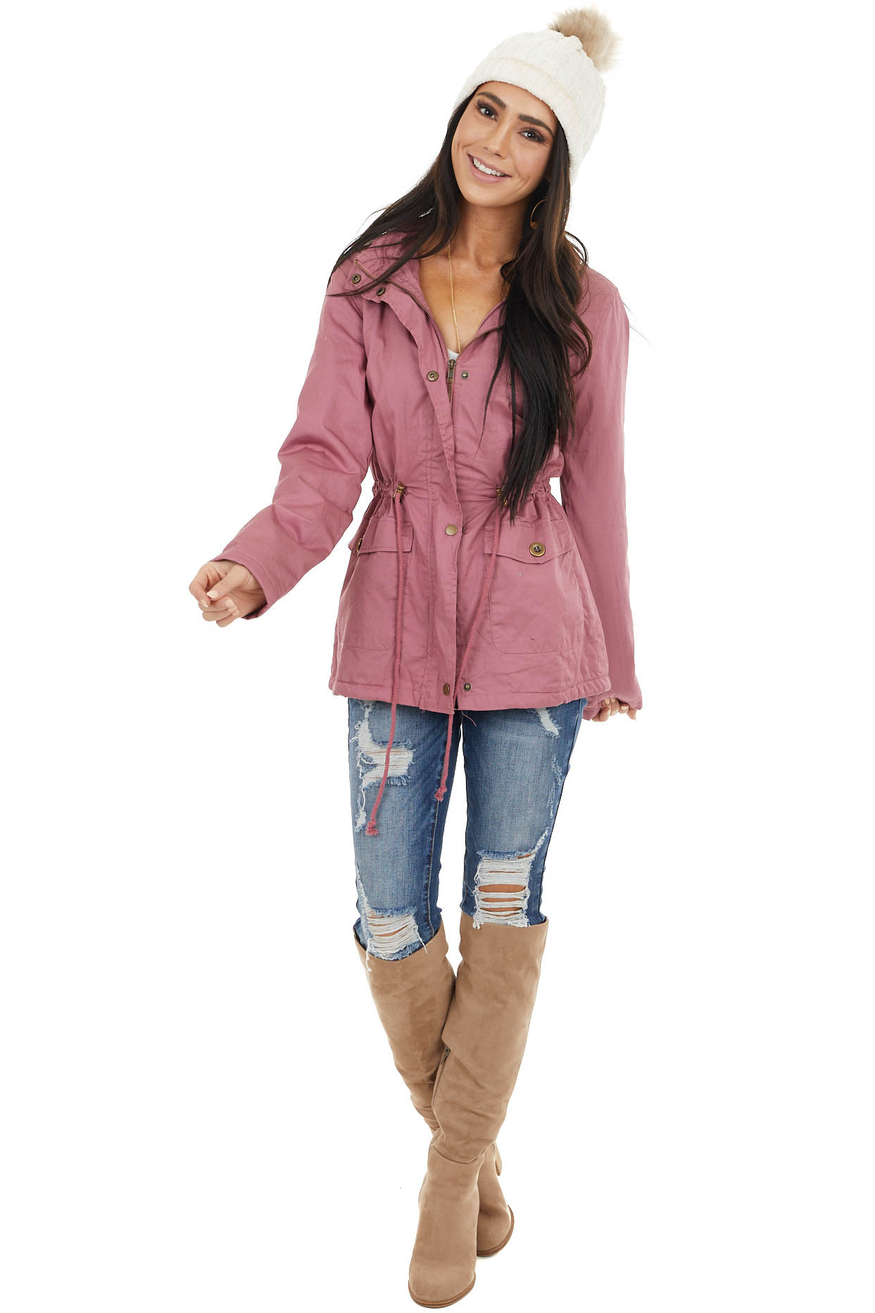 Dusty Rose Anorak Jacket with Faux Fur Lining and Front Tie